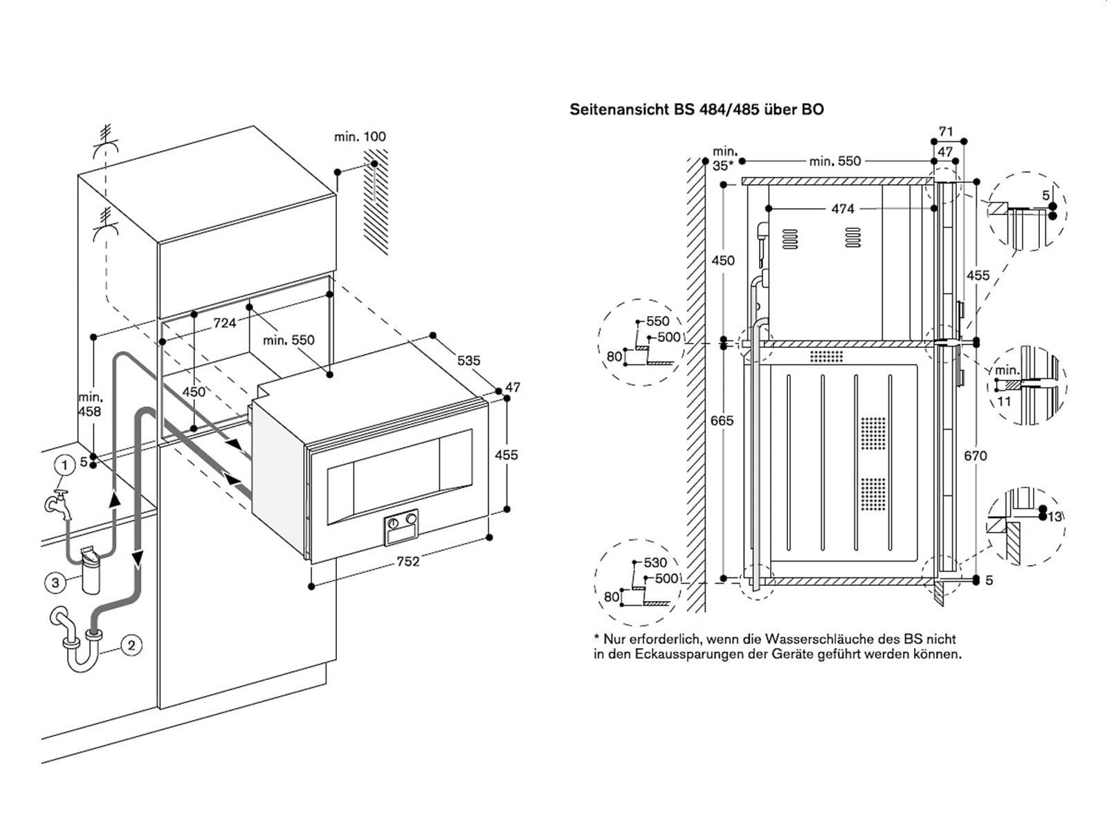 Gaggenau BS 485 111 Kompakt Dampfbackofen Serie 400 Edelstahl/Glas