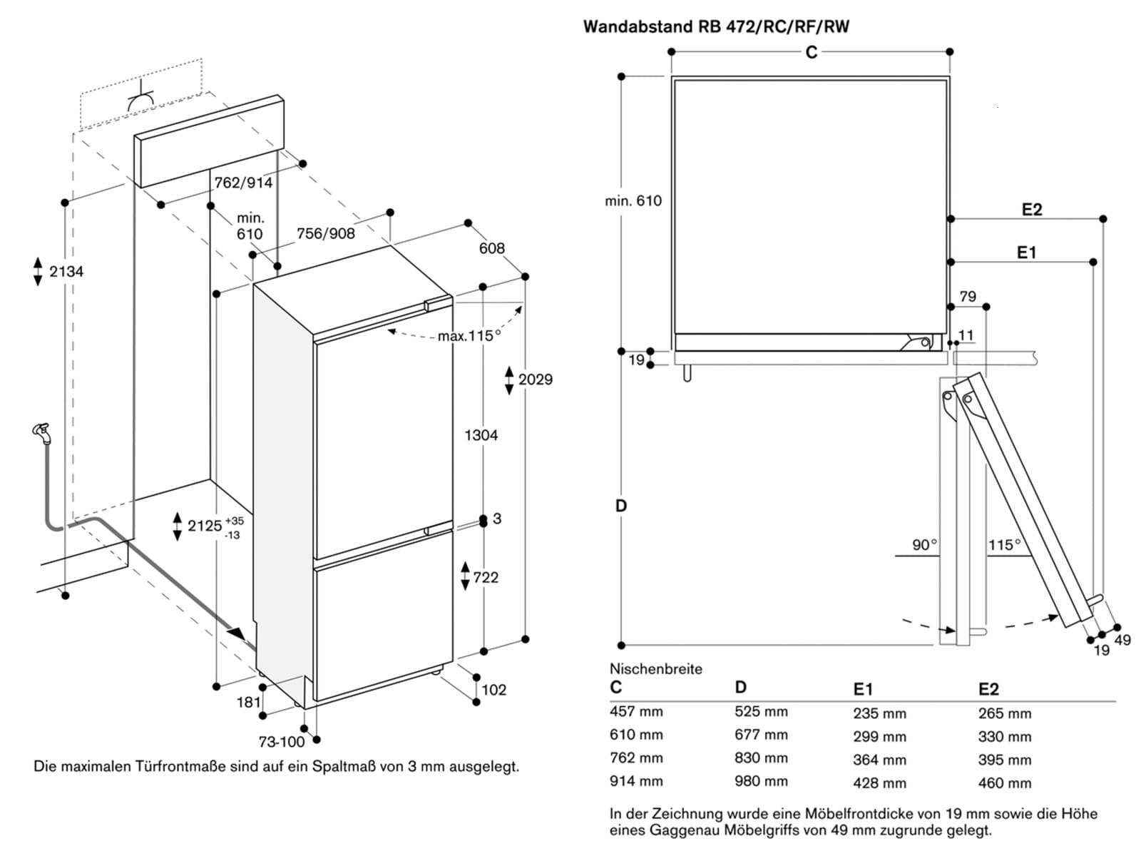 Gaggenau RB 472 304 Serie 400 Einbau-Kühl-Gefrierkombination