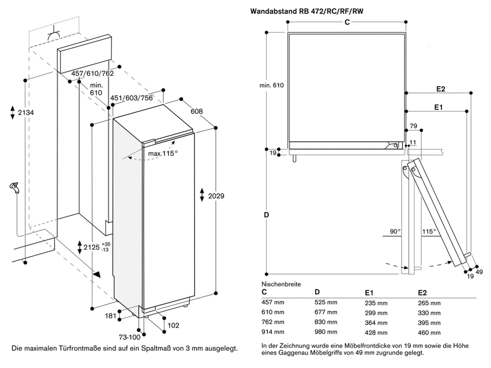 Gaggenau RF 411 304 Serie 400 Einbaugefrierschrank
