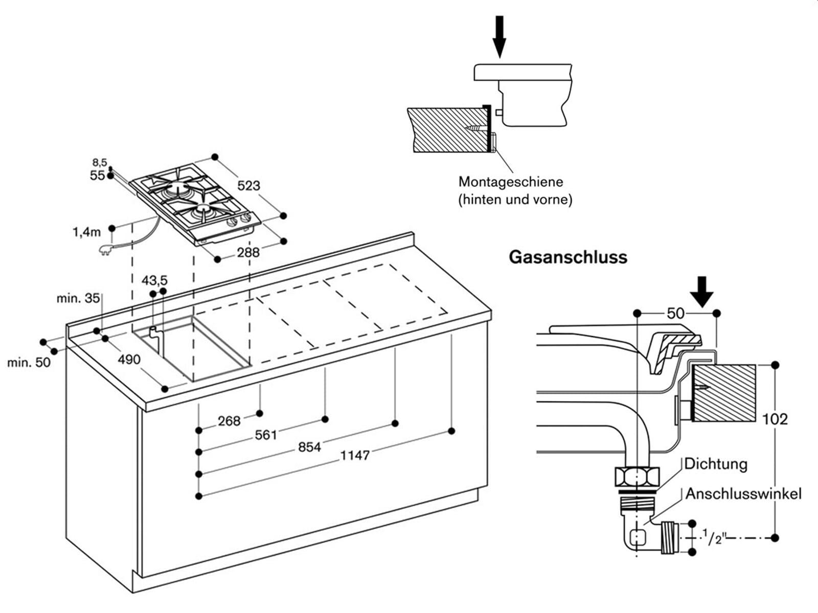 gaggenau vg 232 214 serie 200 domino edelstahl gaskochfeld. Black Bedroom Furniture Sets. Home Design Ideas