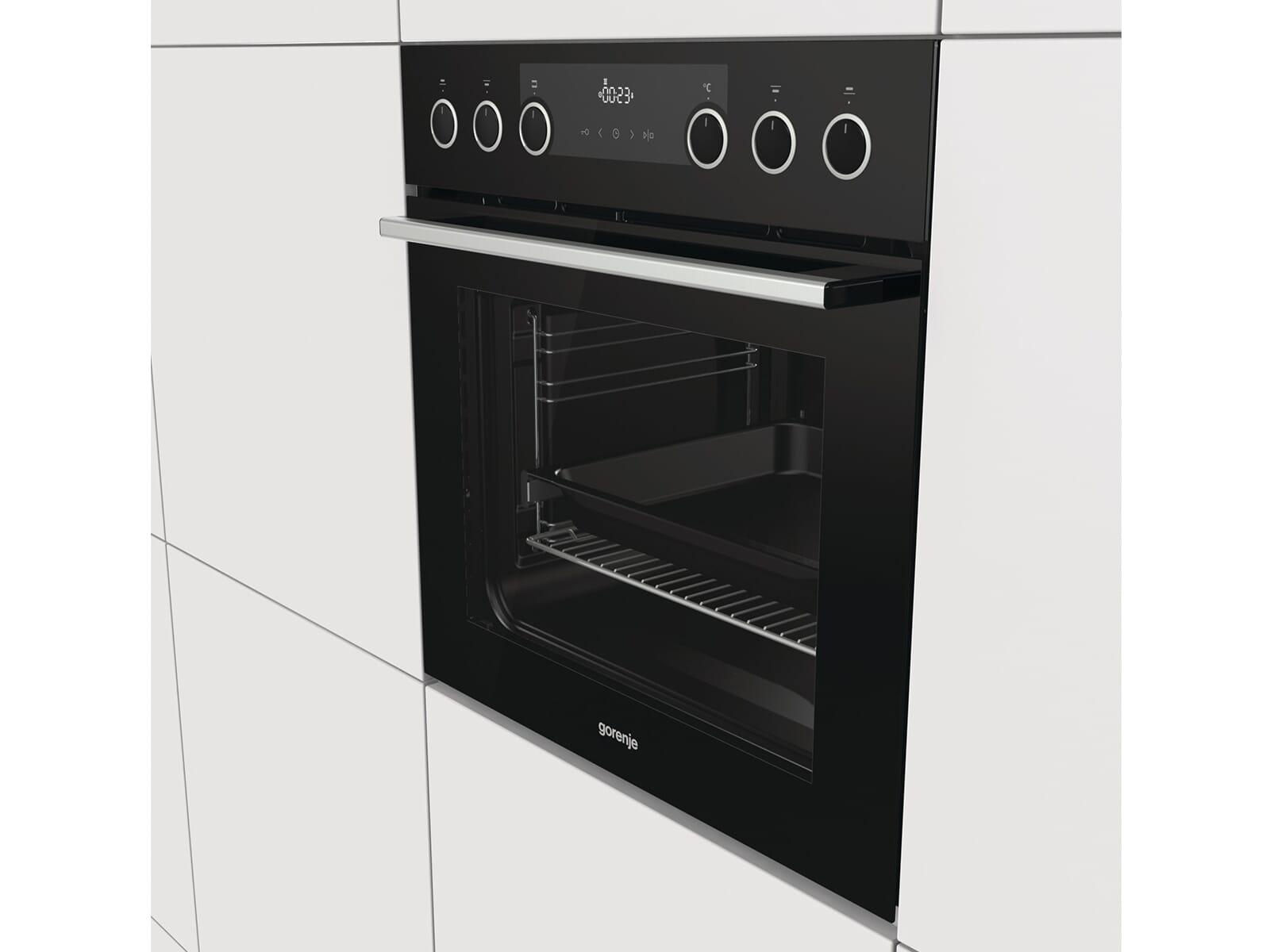 Gorenje Black Set III Heißluft Einbauherd BC737E28BG + Glaskeramik-Kochfeld ECD634X
