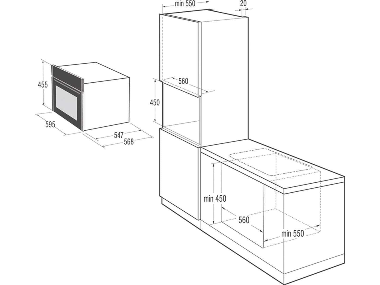 Gorenje BCM 547 S12X Kompakt Backofen mit Mikrowelle Edelstahl