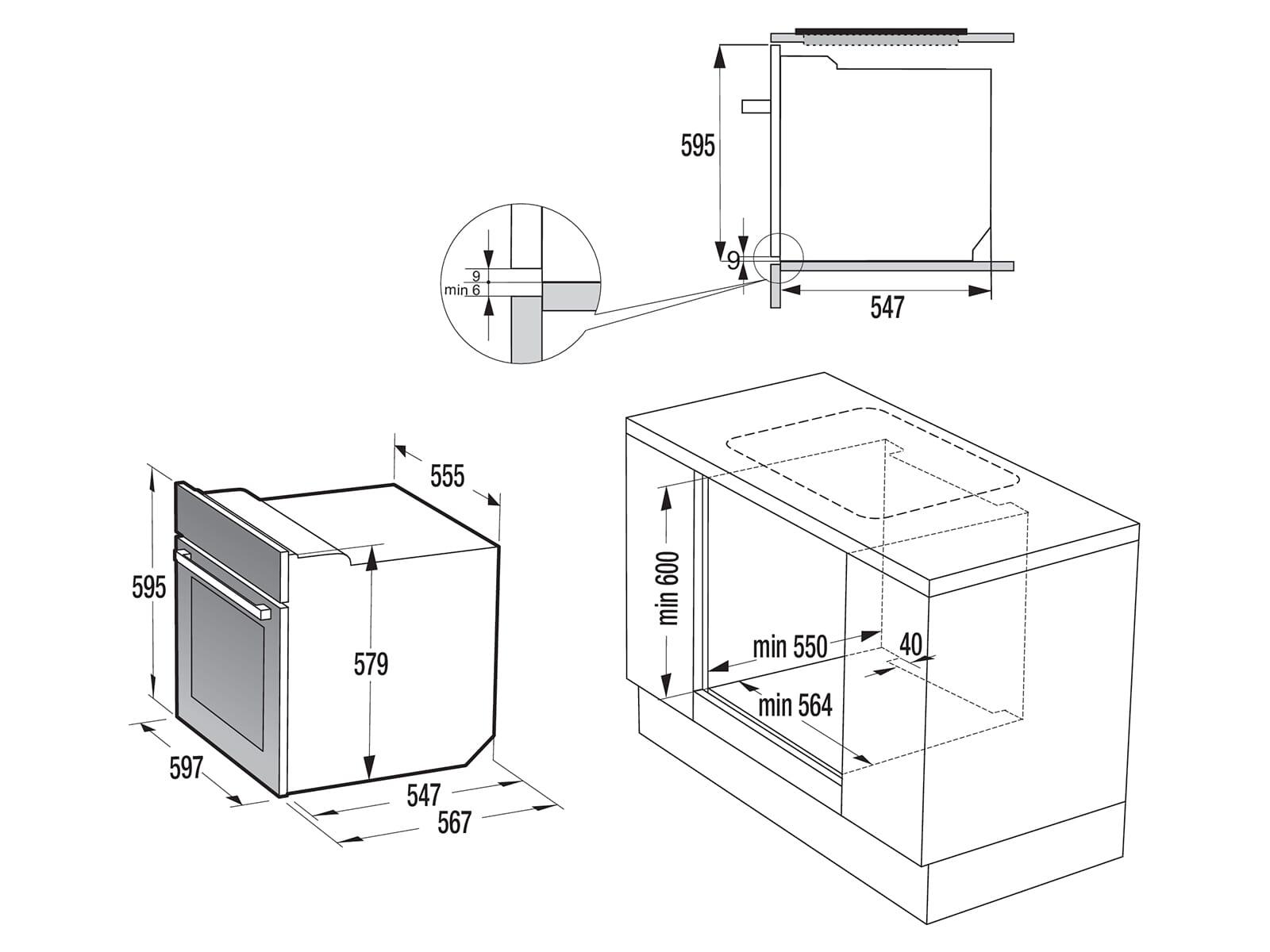Gorenje Black Set III Pyrolyse Einbauherd BCP637E28BG + Glaskeramik-Kochfeld ECD634X