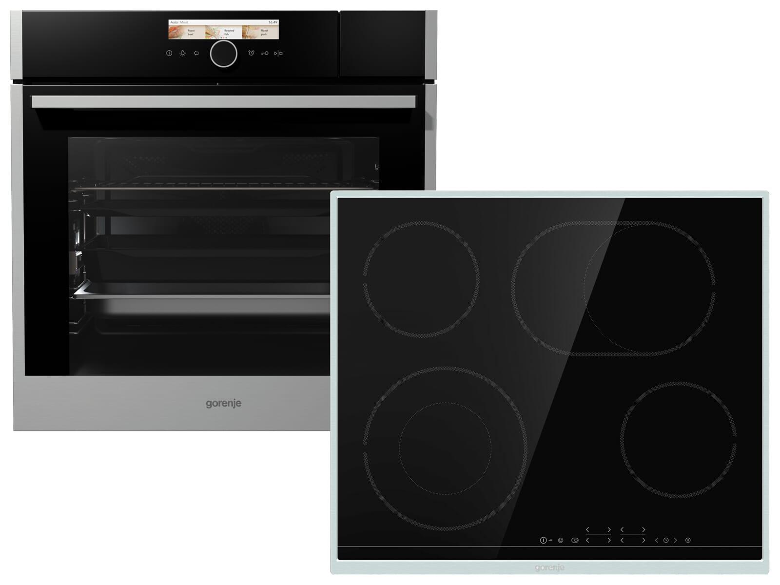 Gorenje Black Pepper Set X07N Kombi-Dampfgar-Backofen BCS 798 S24X + Glaskeramikkochfeld ECT 643 BX