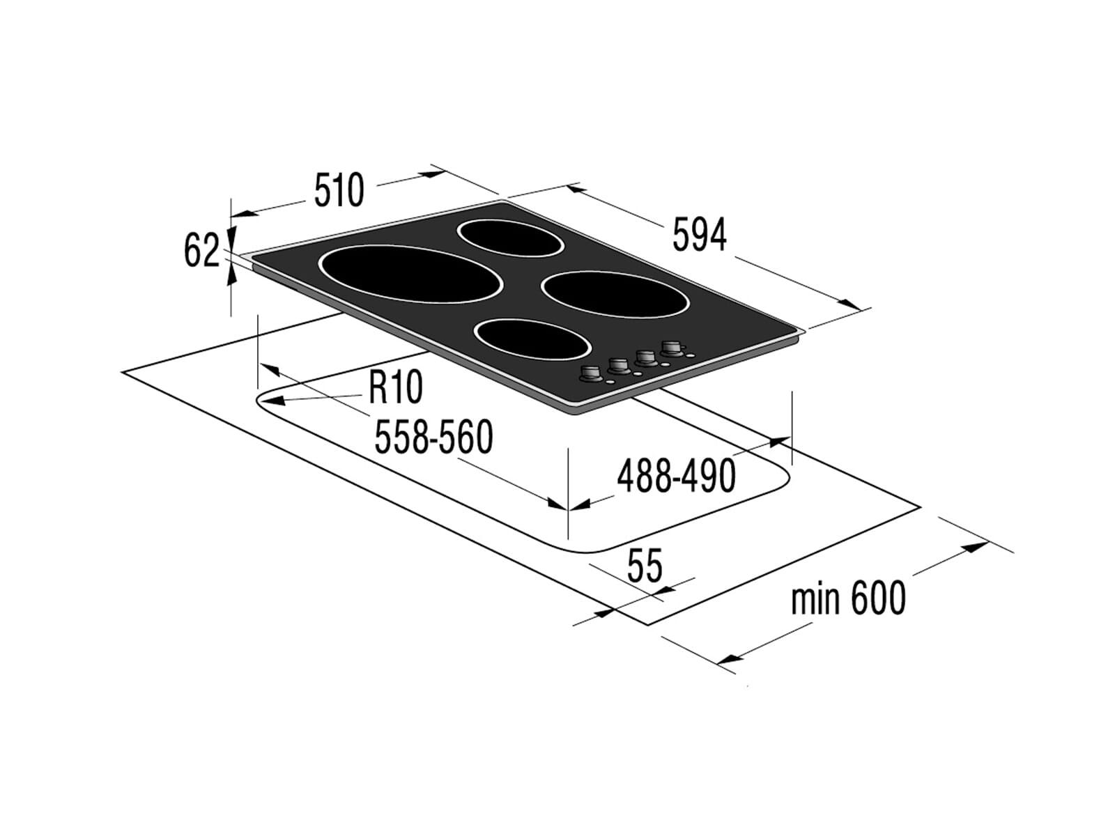 gorenje classico eck 63 clb glaskeramikkochfeld autark ebay. Black Bedroom Furniture Sets. Home Design Ideas