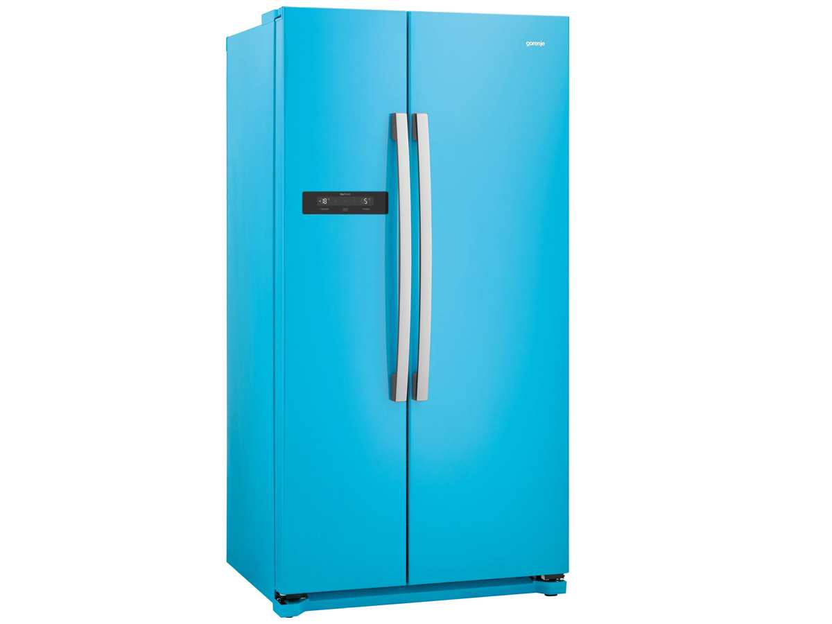 gorenje nrs 9182 bbl side by side k hl gefrier kombination baby blue ebay. Black Bedroom Furniture Sets. Home Design Ideas