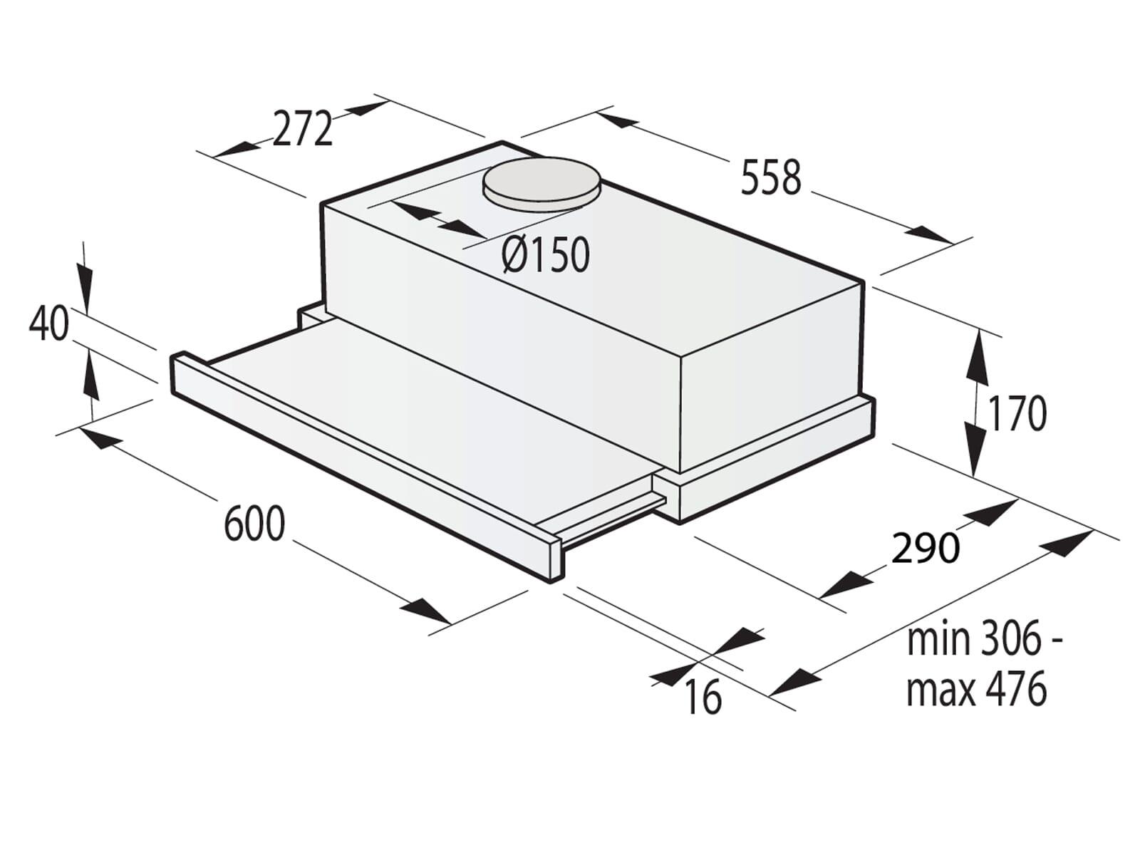 Gorenje TH62E4BG Flachschirm-Dunstabzugshaube 60 cm Schwarz