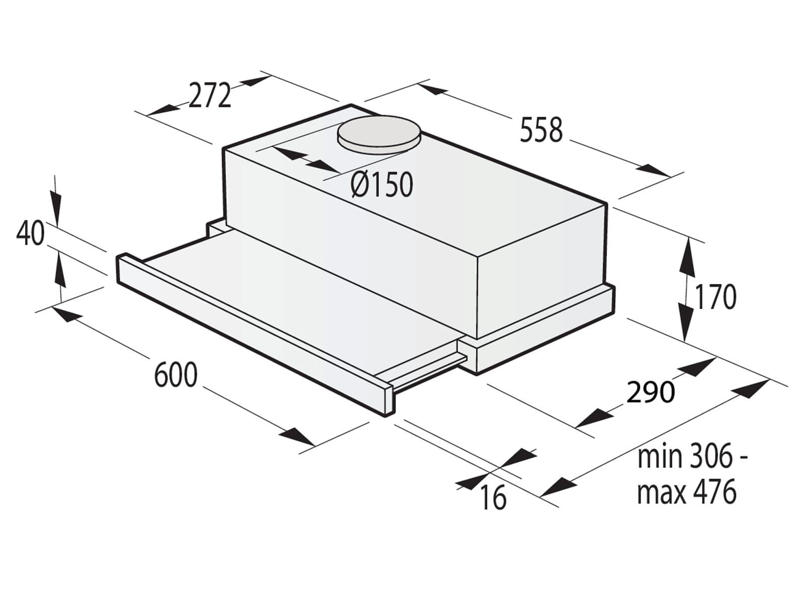 Gorenje TH64E4BG Flachschirm-Dunstabzugshaube 60 cm Schwarz