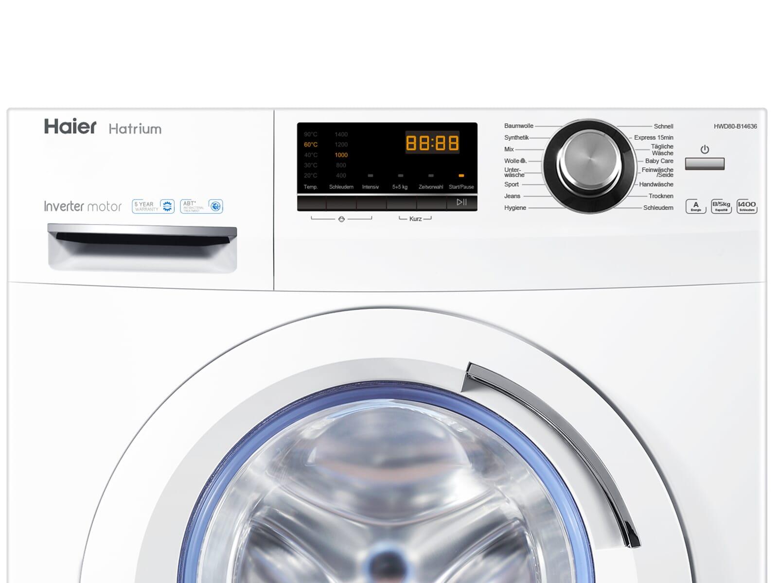 Haier hwd80 b14636 waschtrockner weiß