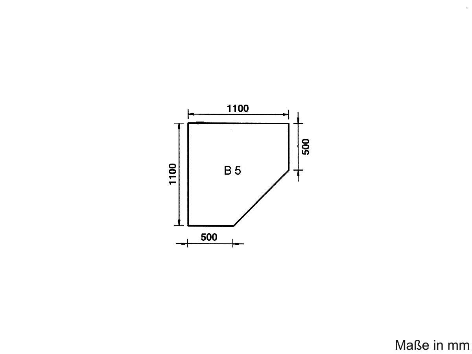 Justus Unterlegplatte Glas B5 Eckmodell 9201 64