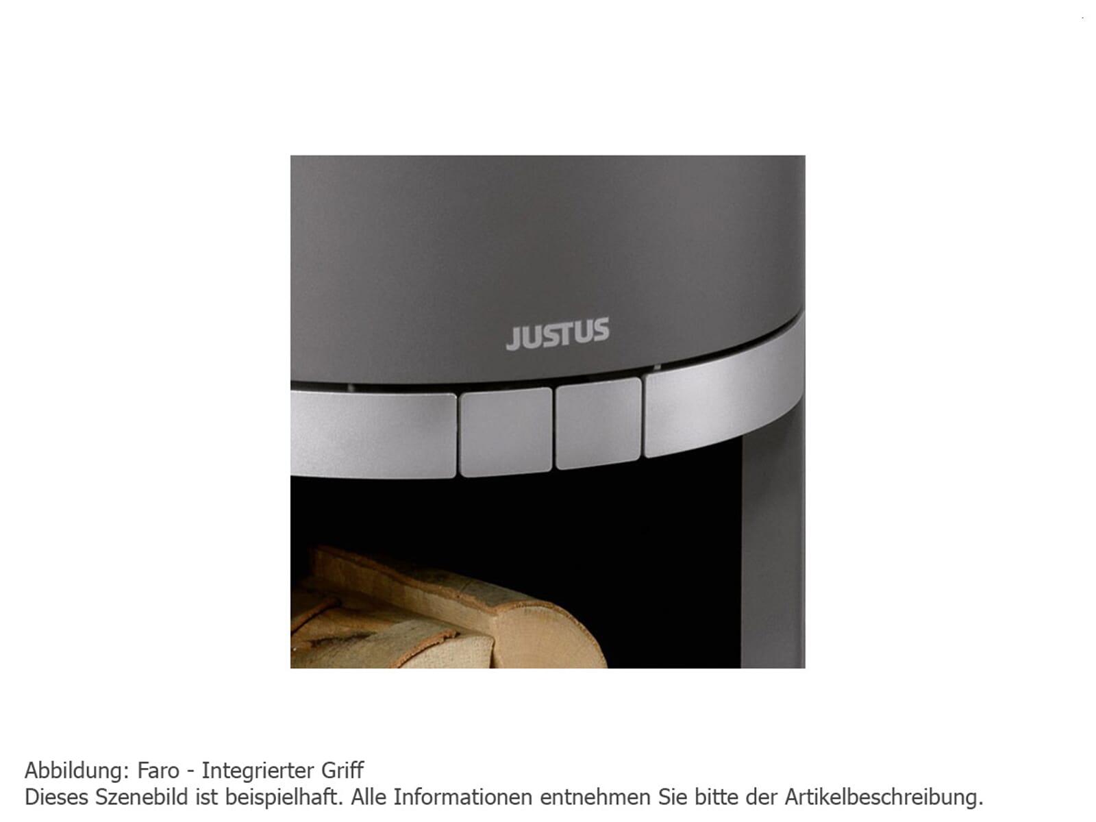 Justus Faro 4686 32 Kaminofen Stahl Schwarz mit Abdeckplatte Sandstein