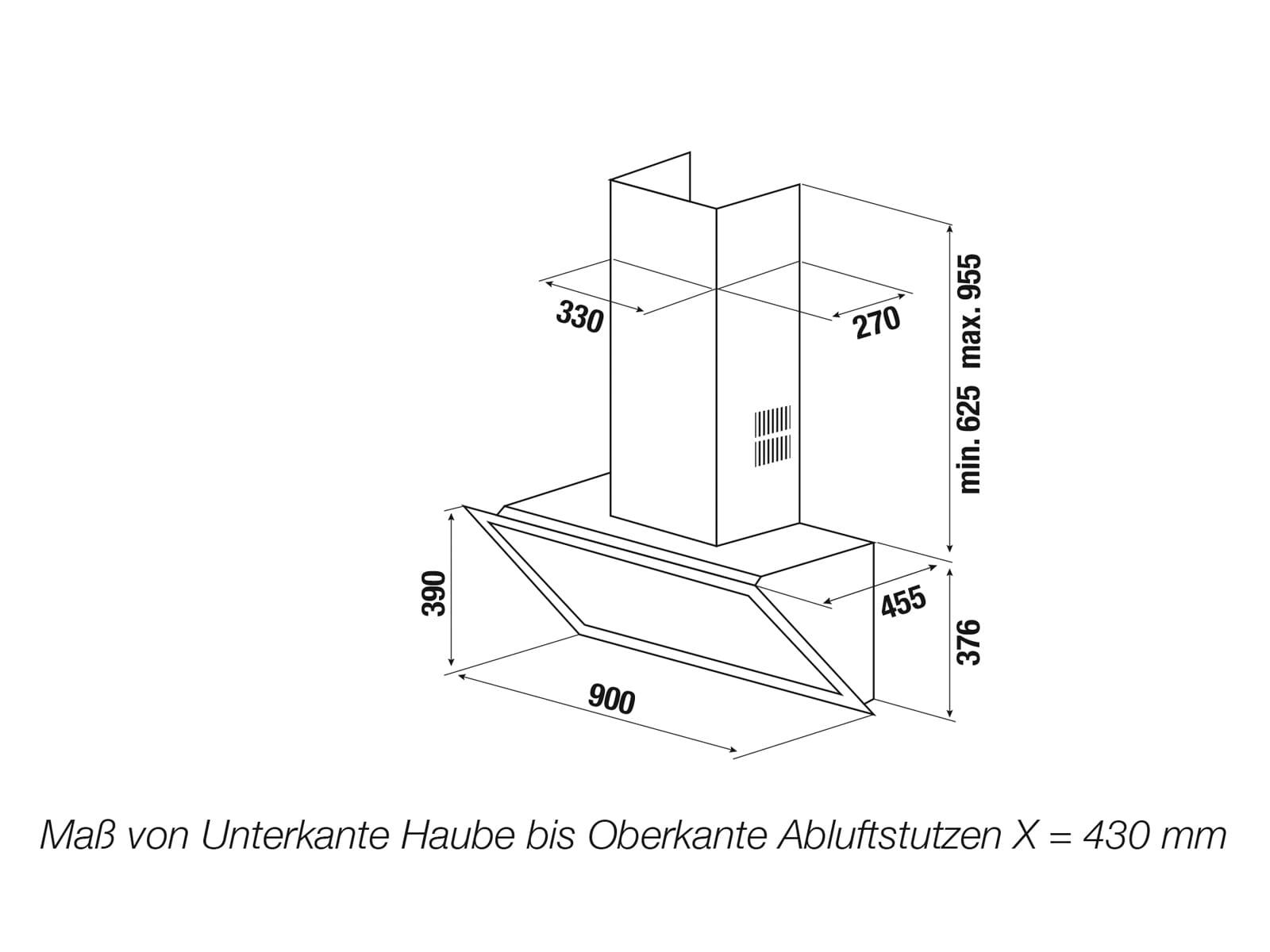 Küppersbusch DW 9800.0 S K-Series. 8 Kopffreihaube 90 cm Schwarzes Glas
