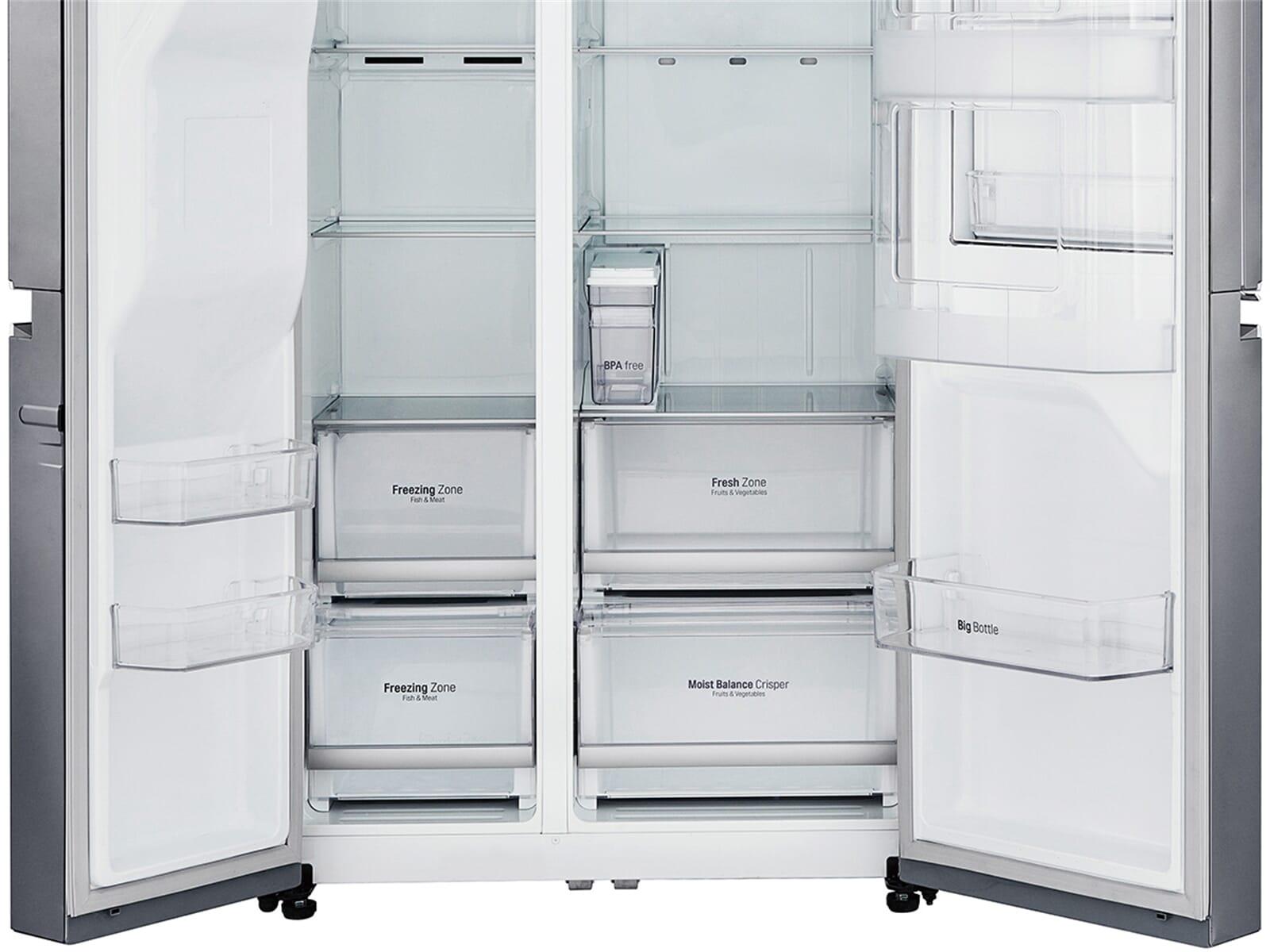 lg gsj 761 pzuz side by side k hl gefrier kombination steel k hlschrank cooler ebay. Black Bedroom Furniture Sets. Home Design Ideas