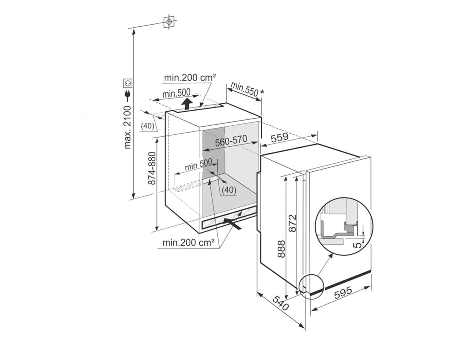 liebherr ek 1624 comfort dekorf higer einbauk hlschrank mit gefrierfach a. Black Bedroom Furniture Sets. Home Design Ideas