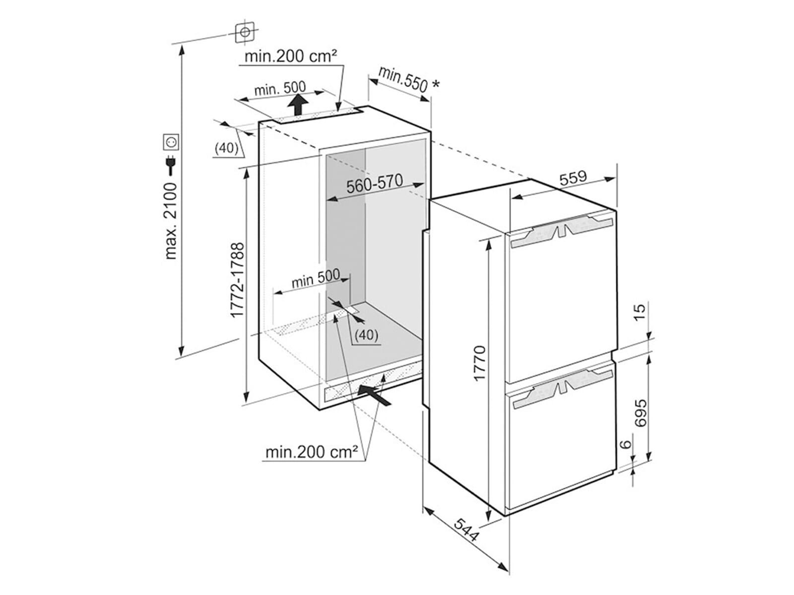 liebherr icp 3334 comfort einbau k hl gefrierkombination a. Black Bedroom Furniture Sets. Home Design Ideas