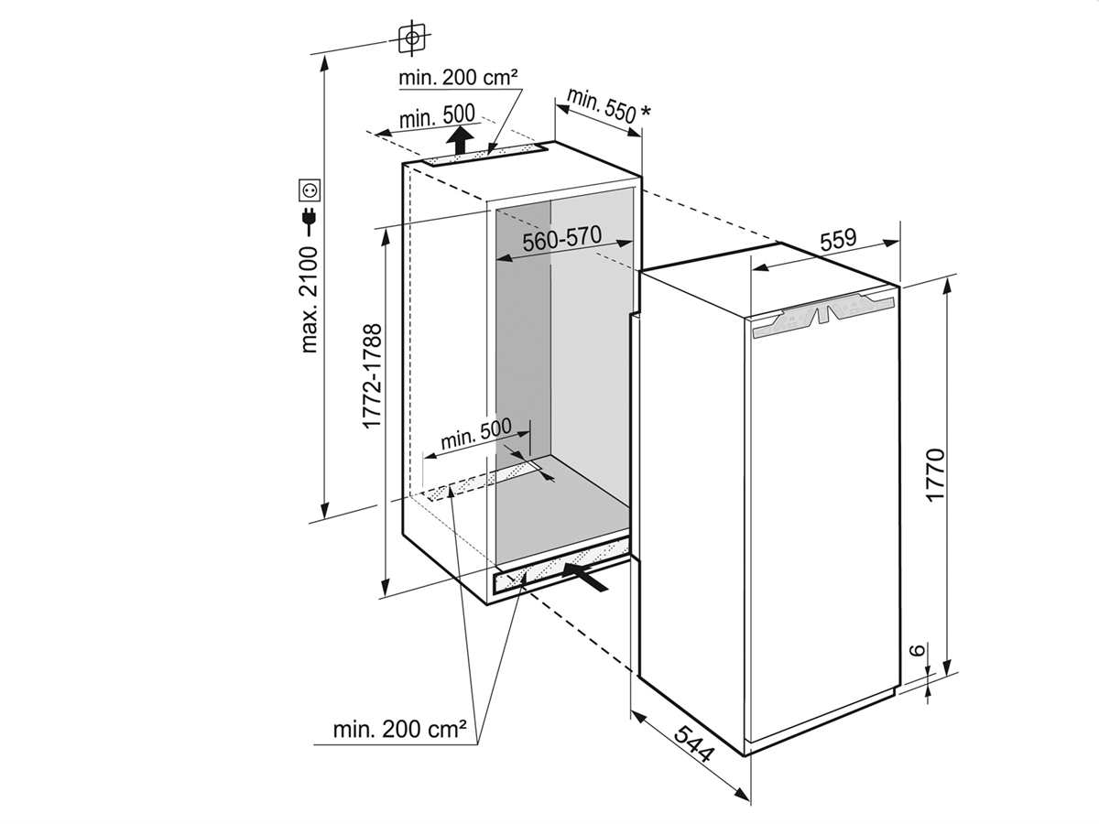 Liebherr IKBP 3524 Comfort BioFresh Einbaukühlschrank mit Gefrierfach A+++