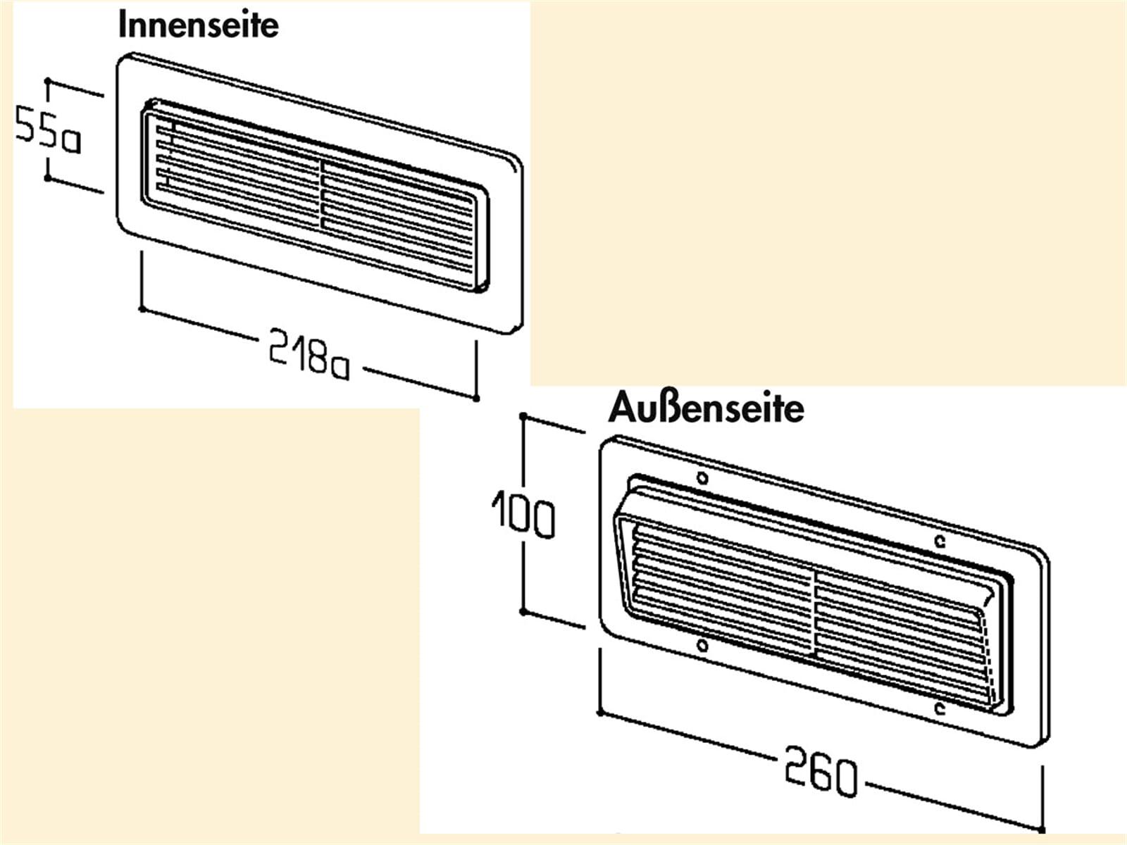 Compair 402.1.105 T-ZUL-GI Breitkanal-Zuluft-Gitterhaube
