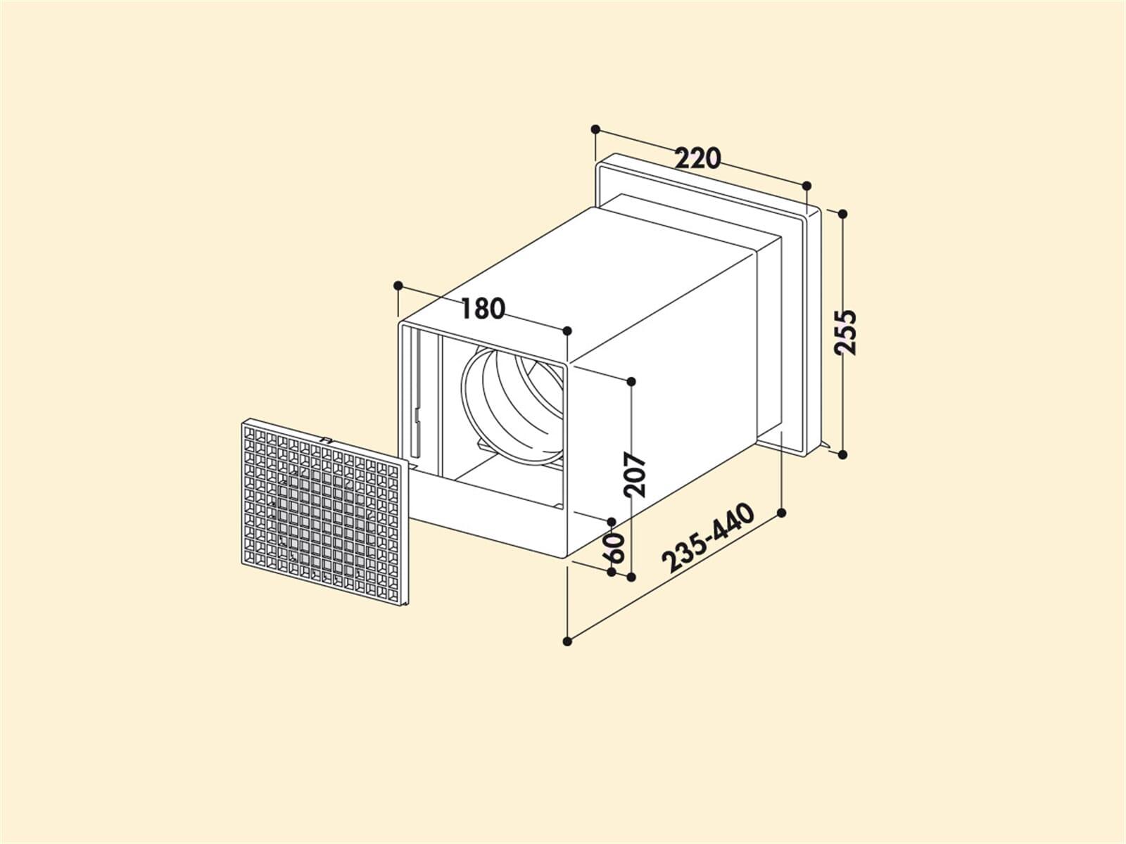 compair 402 v klima a z ab und zuluft mauerkasten 2. Black Bedroom Furniture Sets. Home Design Ideas