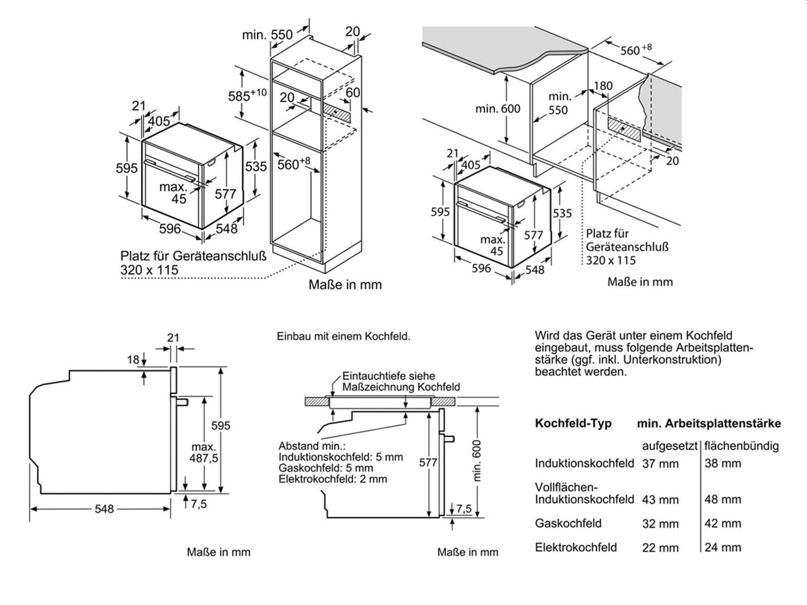 Neff SH 6011 Set Backofen BCS 4524 N + Glaskeramikkochfeld TBT 1676 N