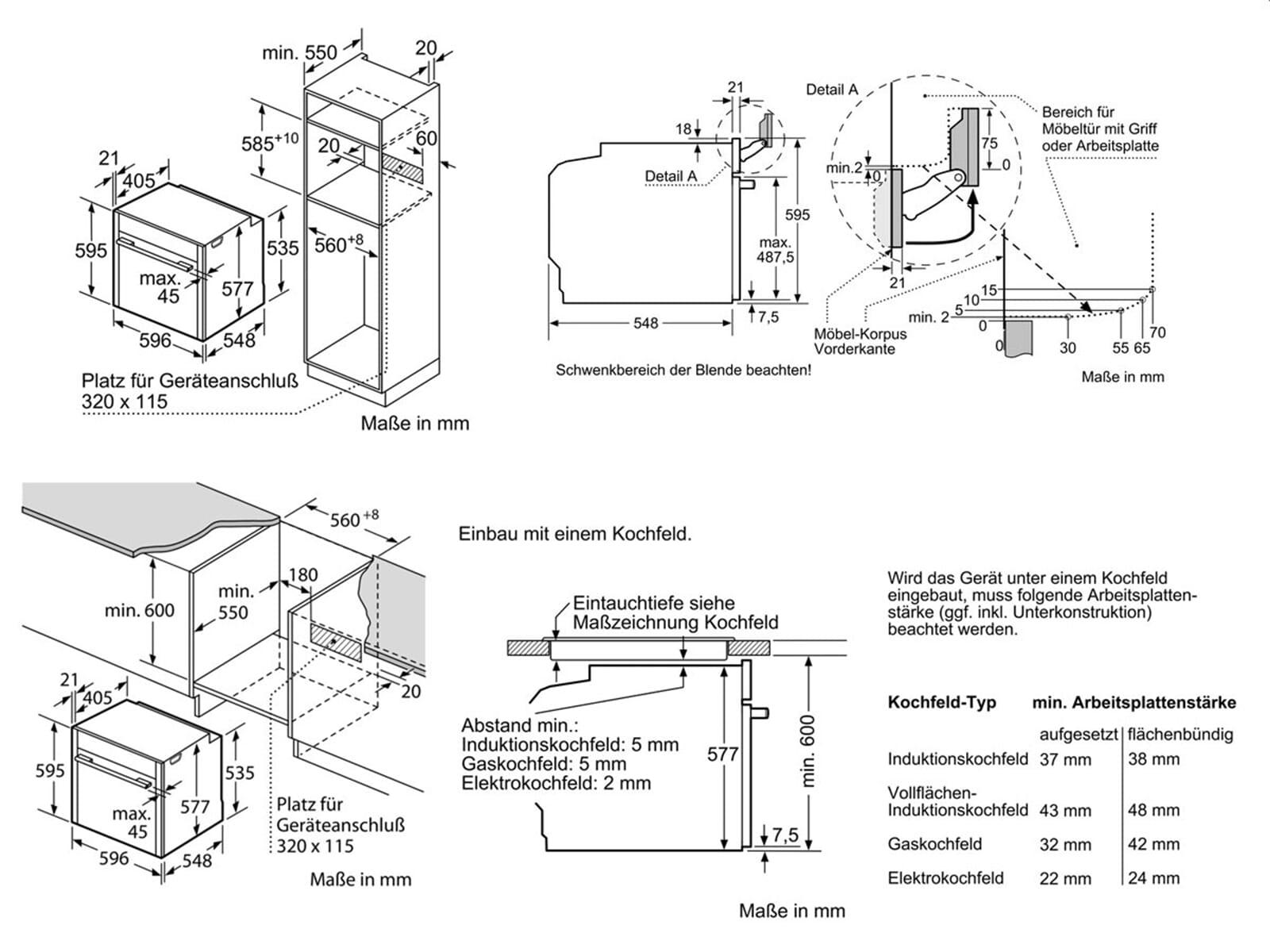 Neff FS812 Set Backofen BFS 4524 N + Induktionskochfeld TBT 4813 N