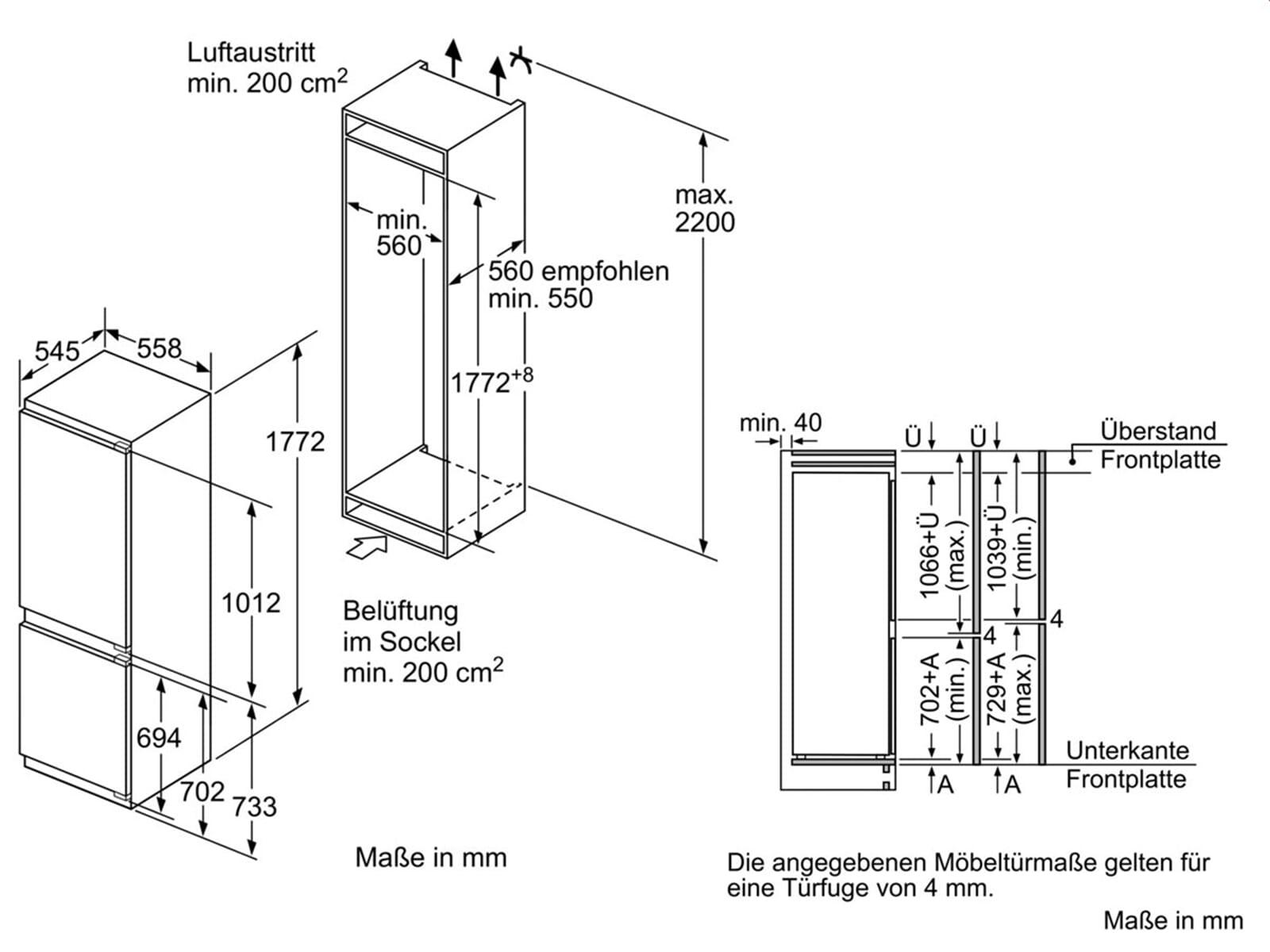 Neff KF 735 A2 Einbau-Kühl-Gefrierkombination