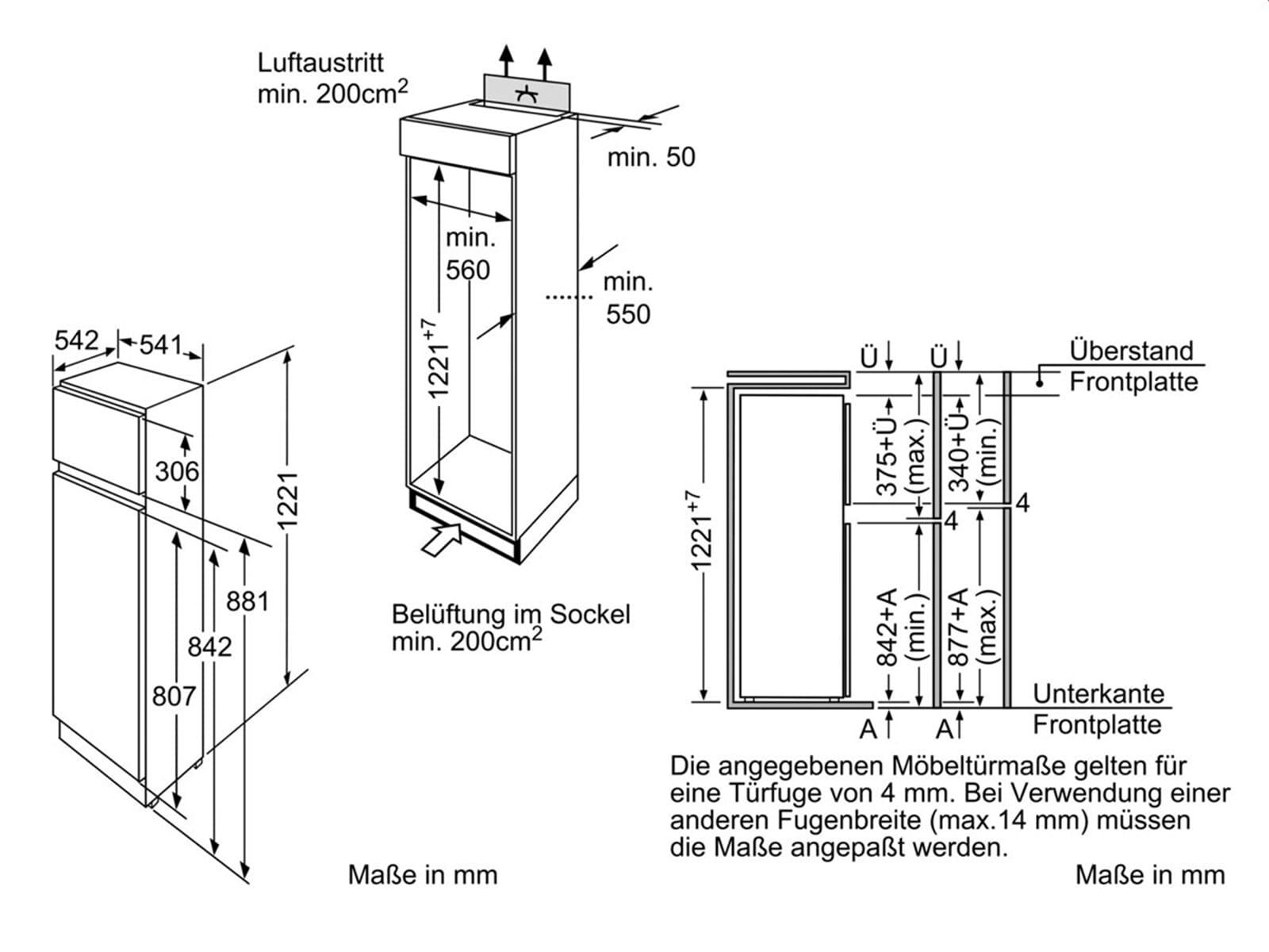 neff kt434a2 einbau k hl gefrierkombination. Black Bedroom Furniture Sets. Home Design Ideas