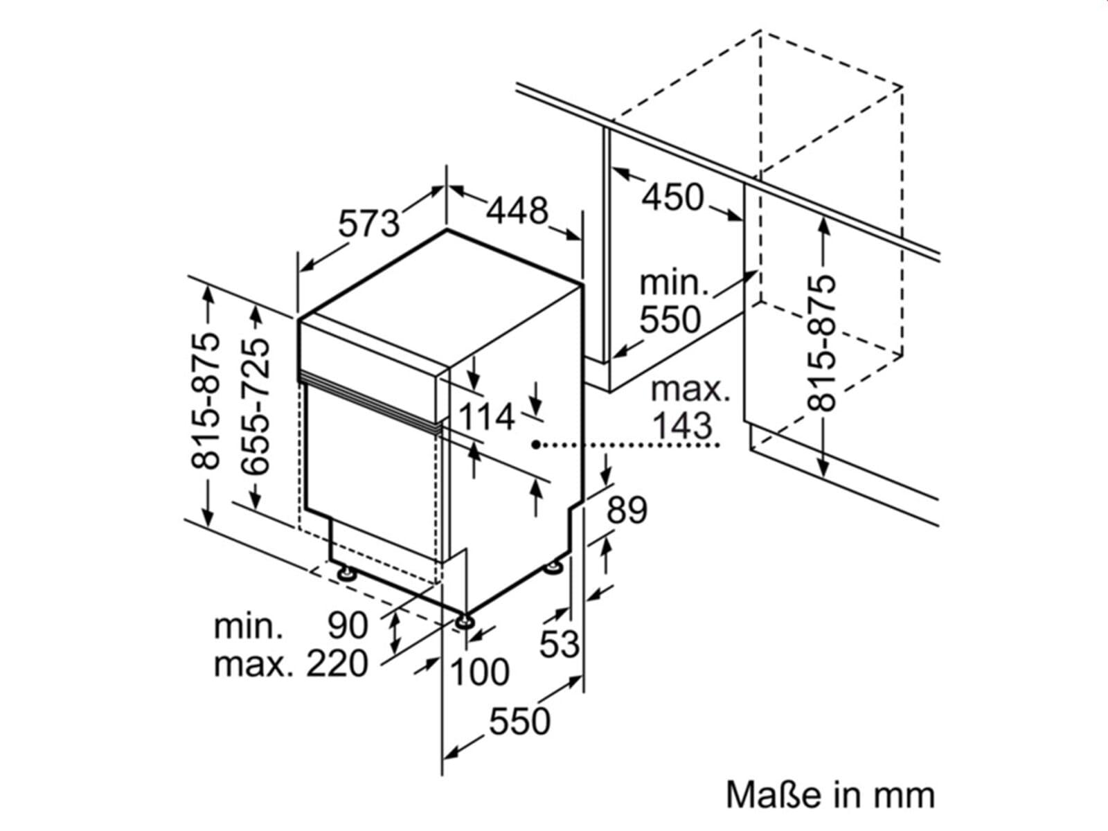 Neff GK4508MN Teillintegrierbarer Einbaugeschirrspüler