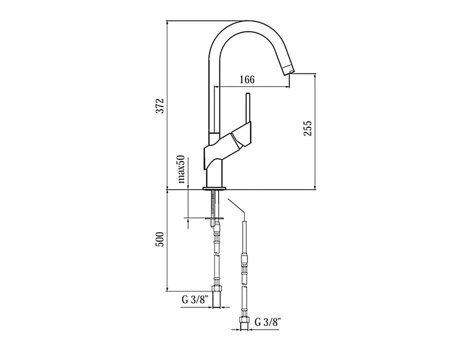 Shan Edelstahl-Optik Hochdruckarmatur