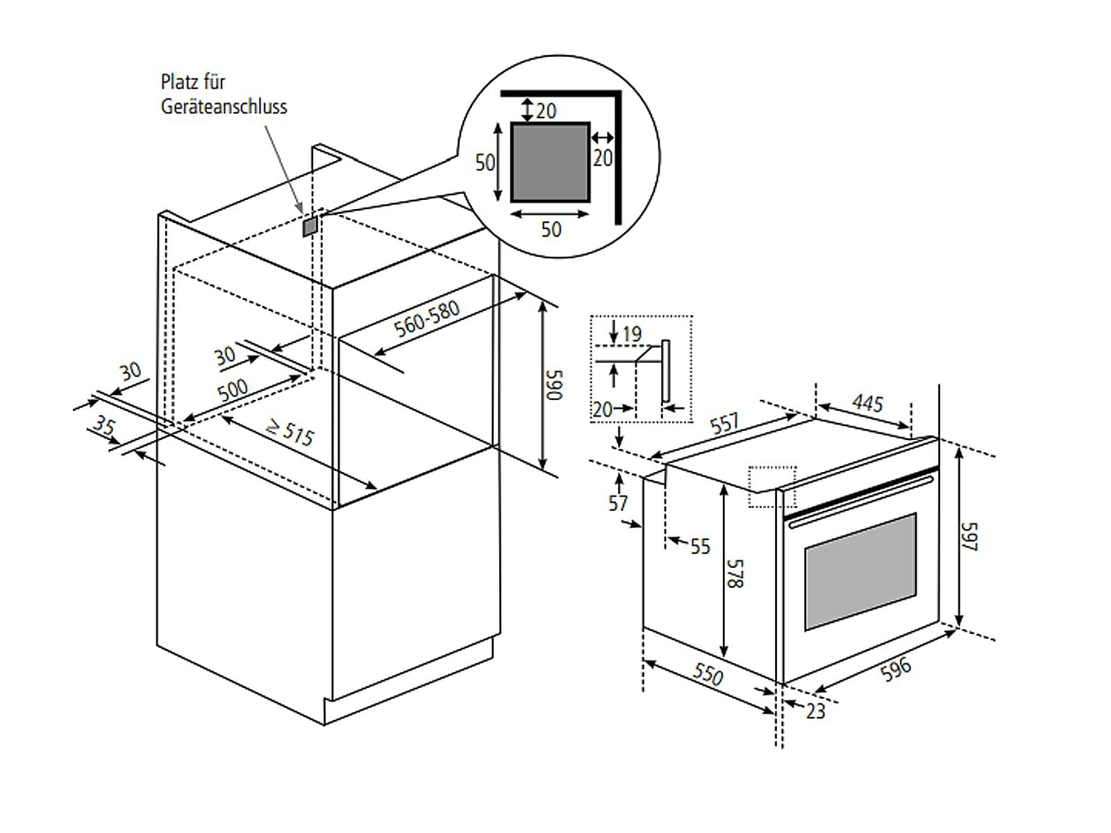 Oranier Clever-Set 26 - 9905 26 Backofen EBS 9872 + Kochfeldabzug KFL 2094 bc Umluft