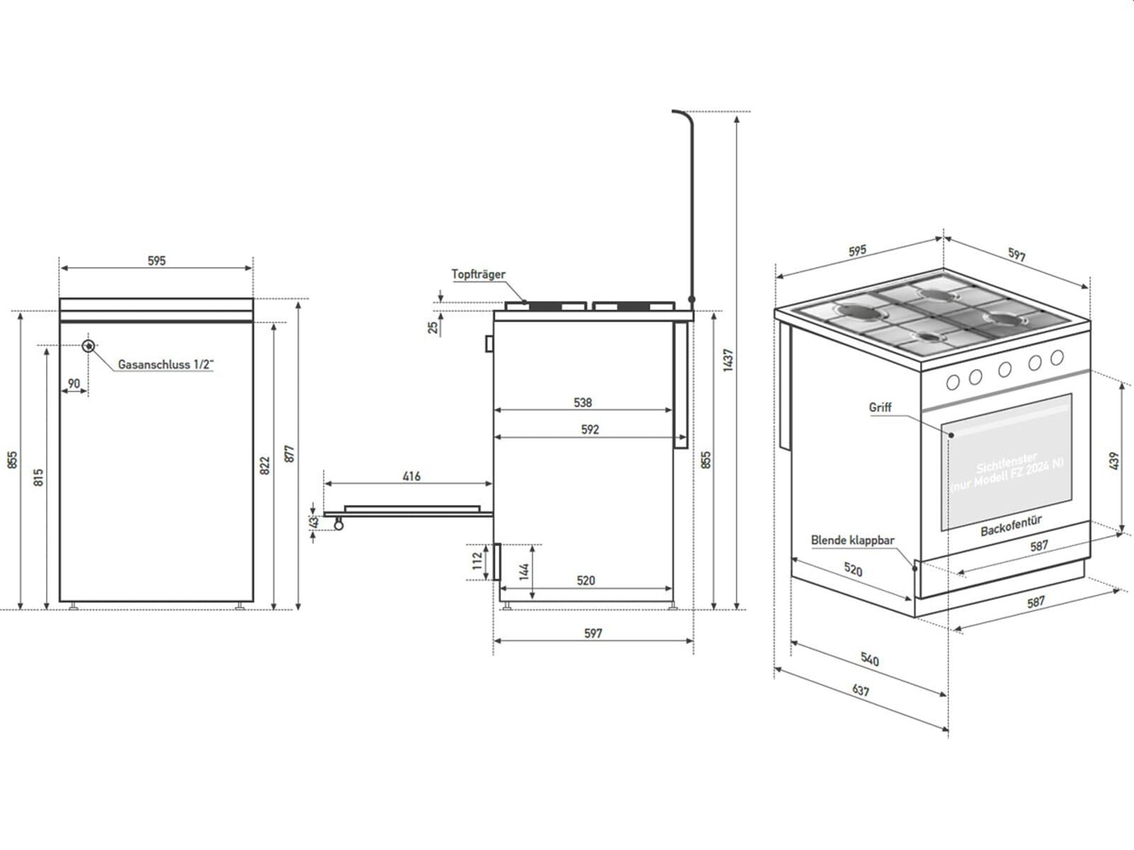 oranier fz 2024 n gas standherd wei. Black Bedroom Furniture Sets. Home Design Ideas