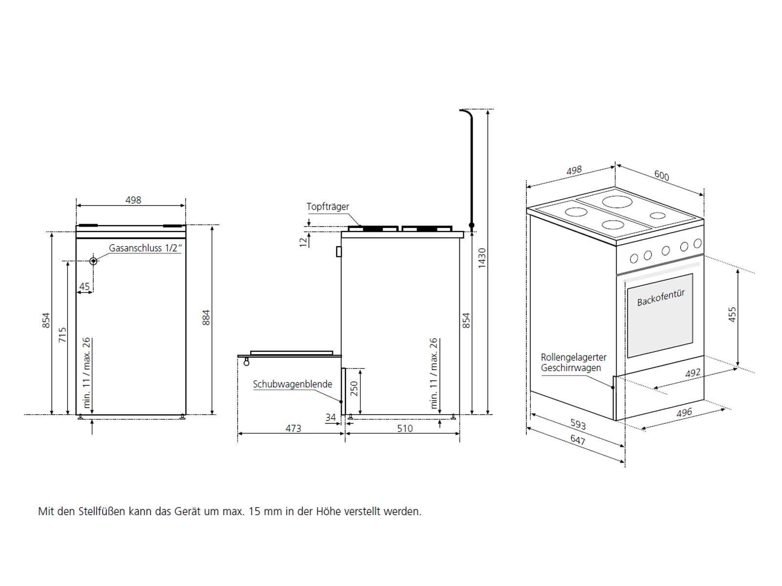 Oranier FZ 2288 - 2288 15 Gas Standherd Weiß