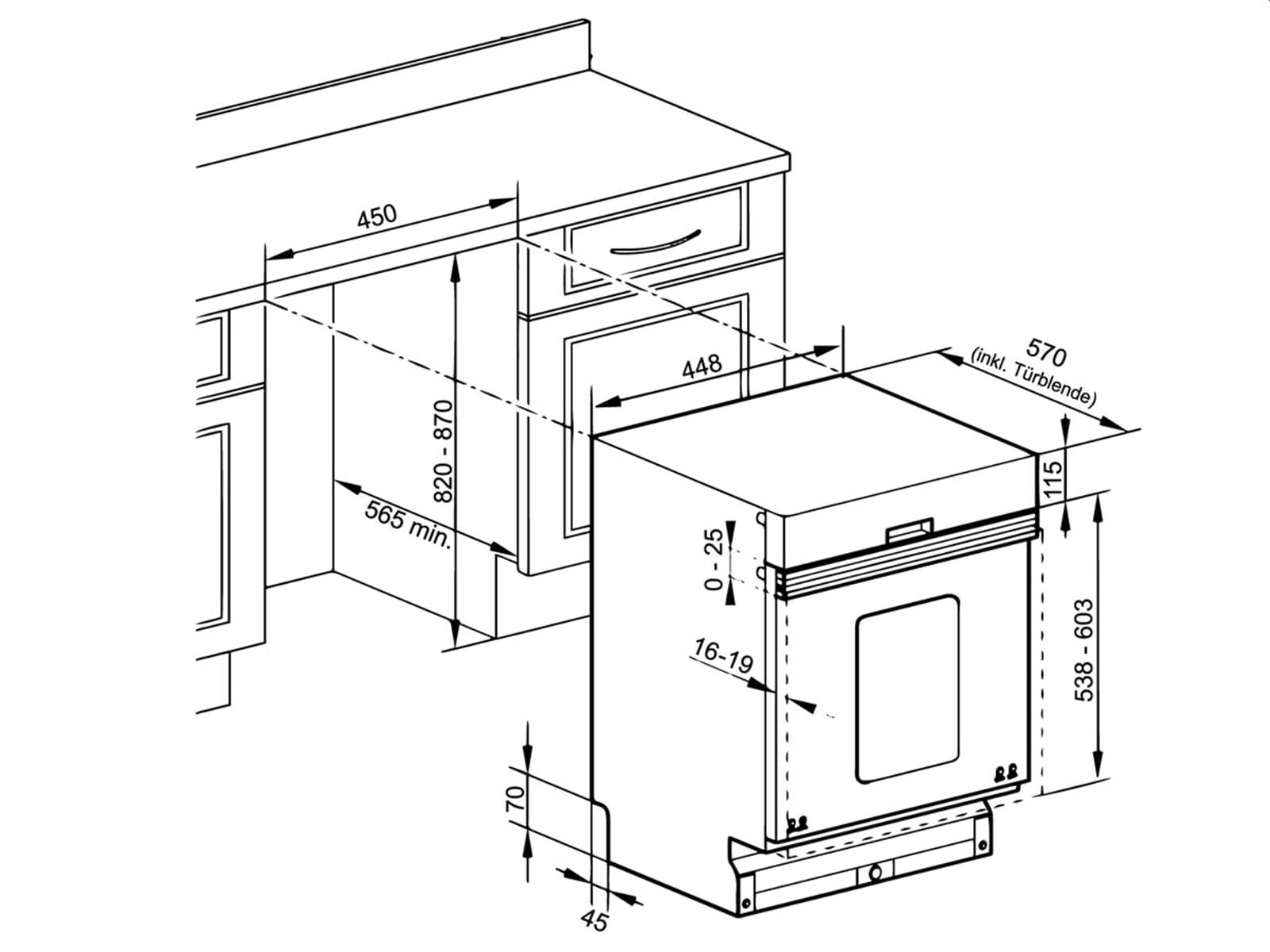 Oranier GAB 7581 - 7581 48 Teilintegrierbarer Einbaugeschirrspüler