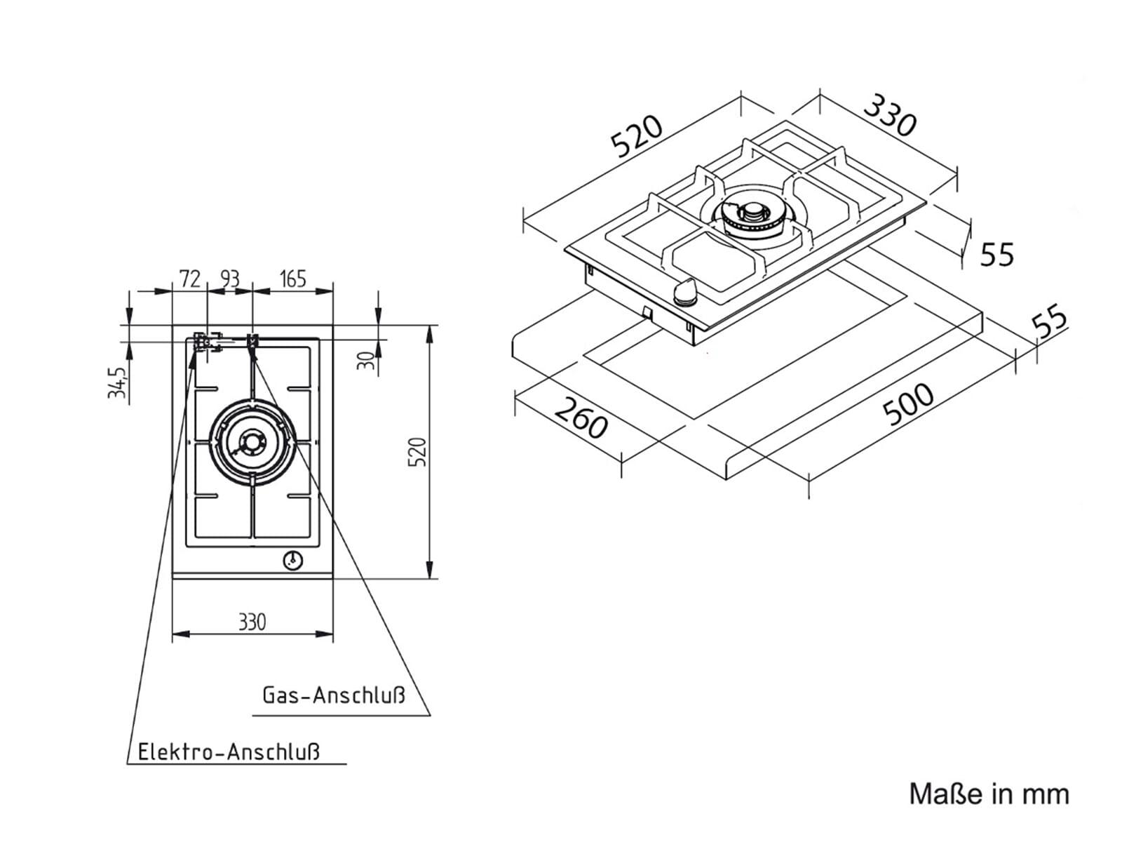 Oranier GFC 2731 - 2731 18 Domino Glaskeramik Gaskochfeld autark