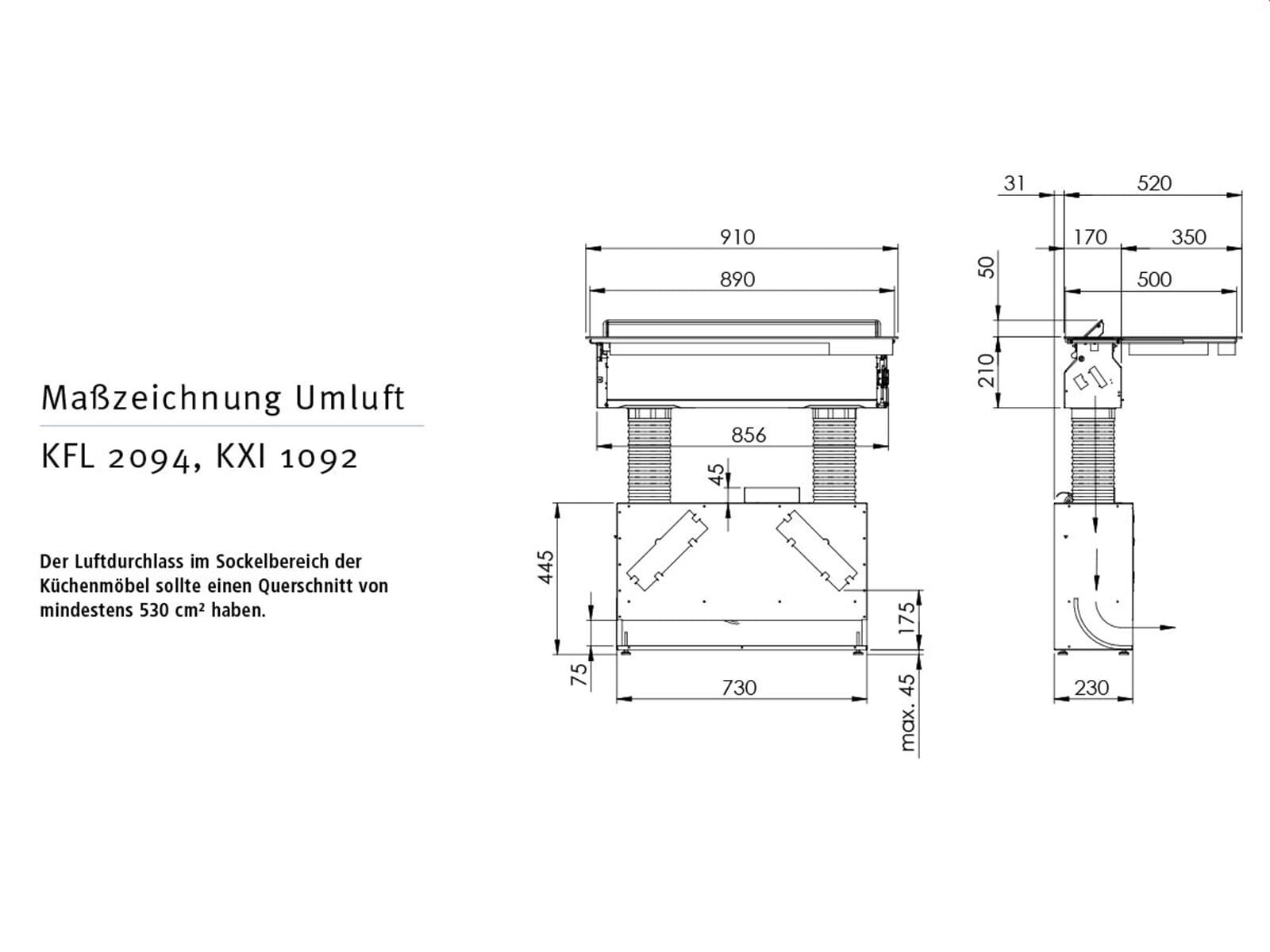 oranier kxi 1092 1092 70 induktionskochfeld dunstabzug. Black Bedroom Furniture Sets. Home Design Ideas