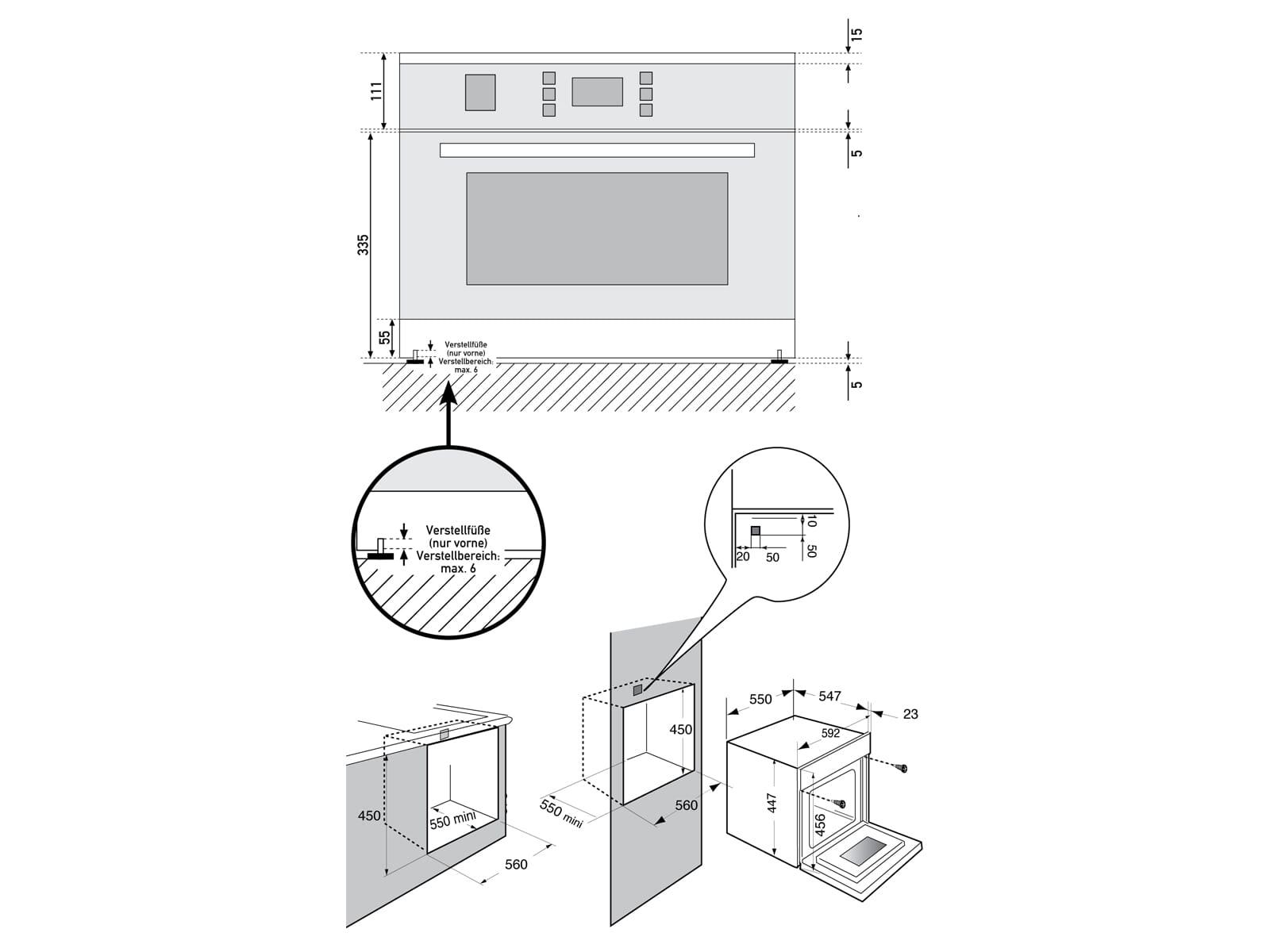 Oranier KMH 9803 12 - 9803 12 Kompakt-Backofen mit Mikrowelle Edelstahl/Schwarz