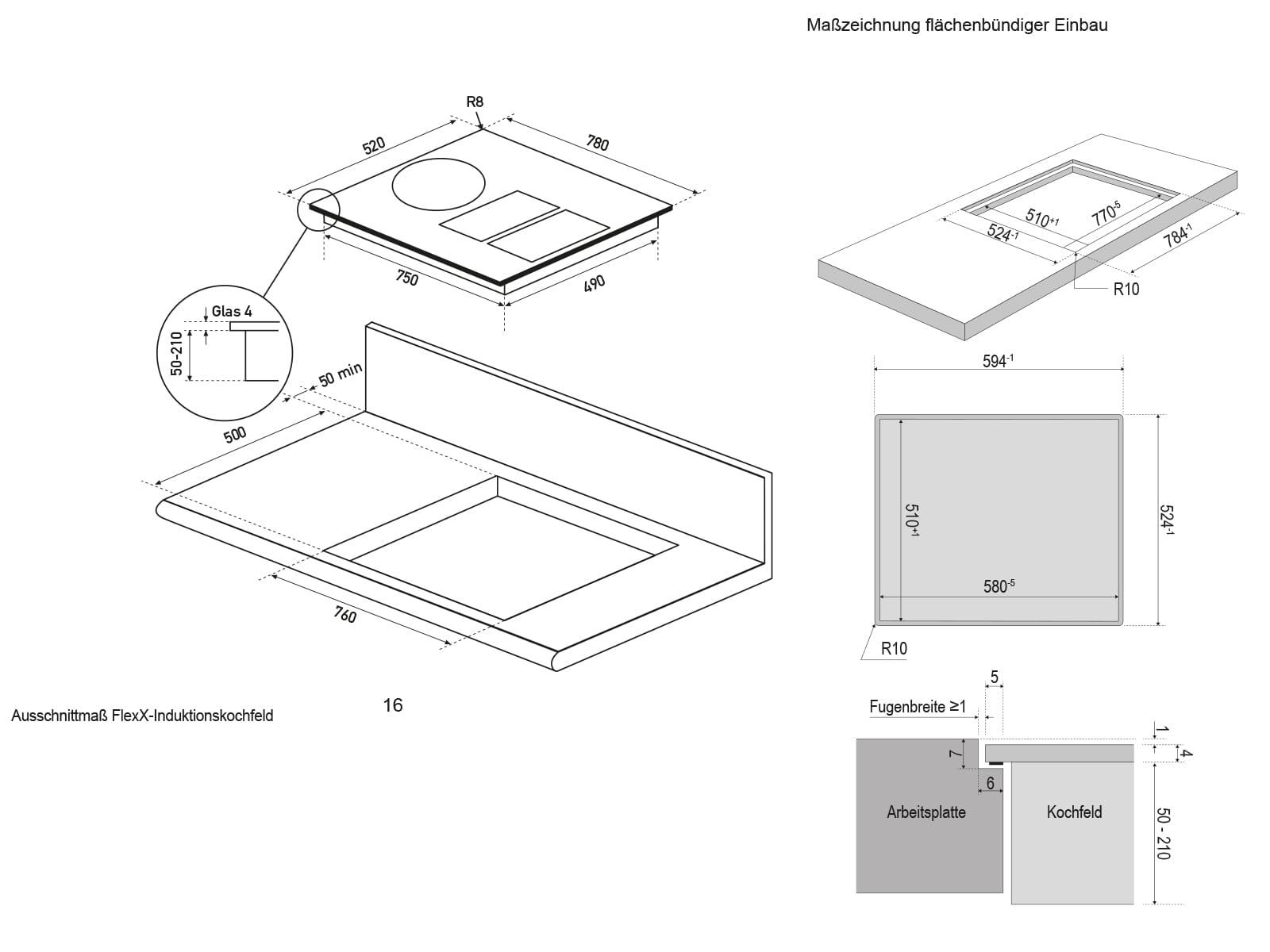 Oranier KXI 1082 Basic-PLUS - 1082 80 Induktionskochfeld-Dunstabzug-Kombination