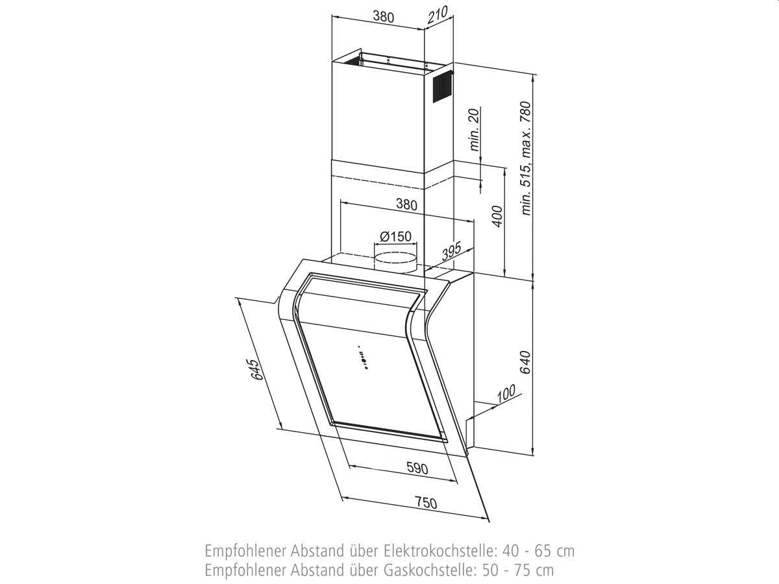 Oranier Limara 75 S - 8601 76 Kopffrei Wand Dunstabzugshaube Schwarz/Weiß