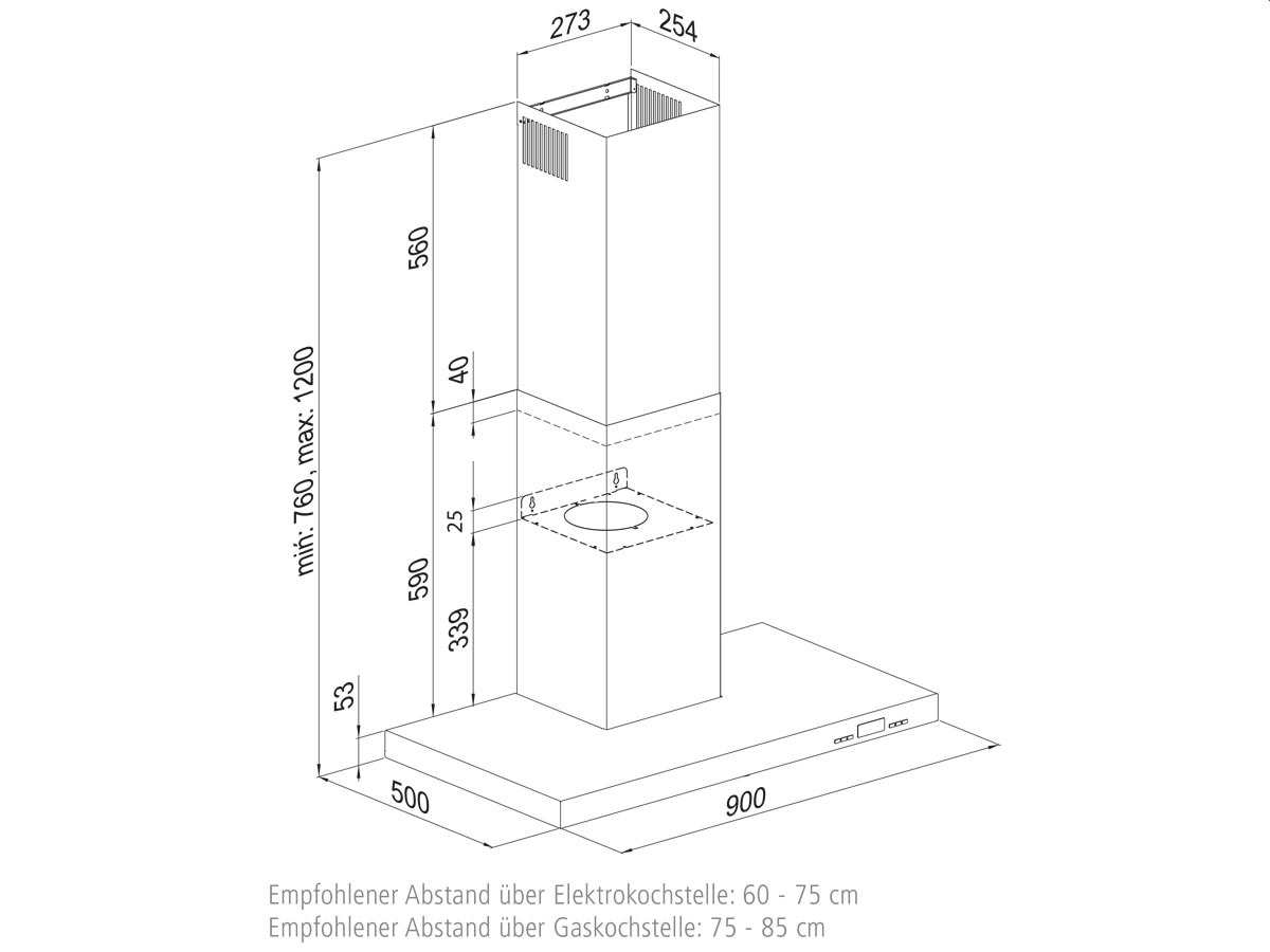 Oranier Lissero 90 E-A - 8808 11 Wandhaube 90 cm Edelstahl