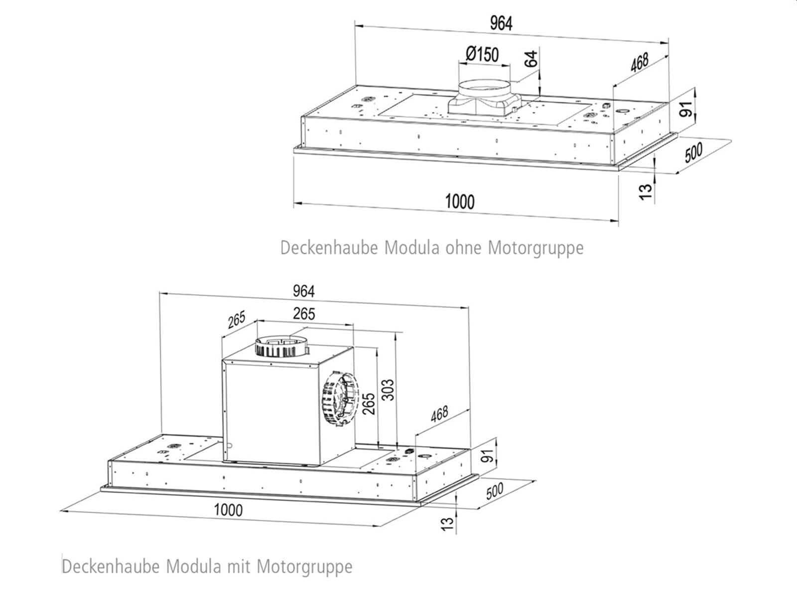 Oranier Modula - 8756 11 Deckenhaube 100 cm Edelstahl