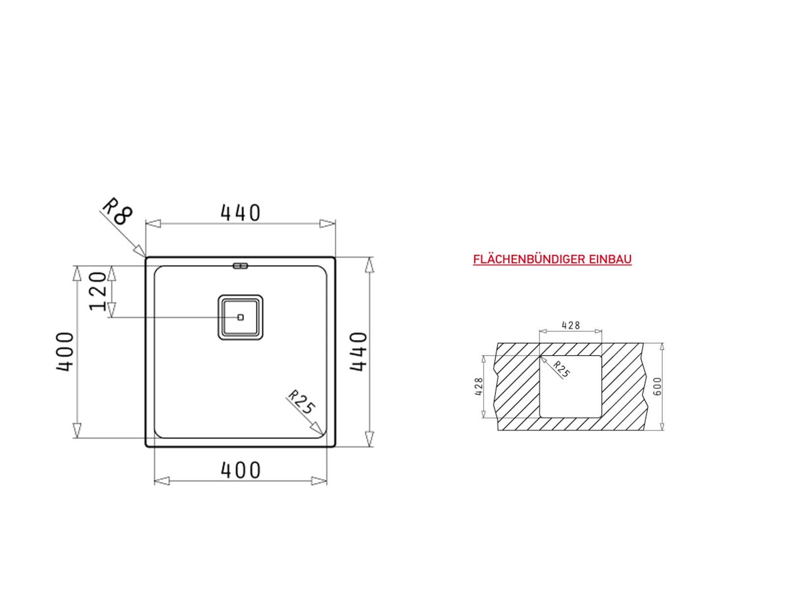 Pyramis Lume (40x40) 1B Edelstahlspüle poliert