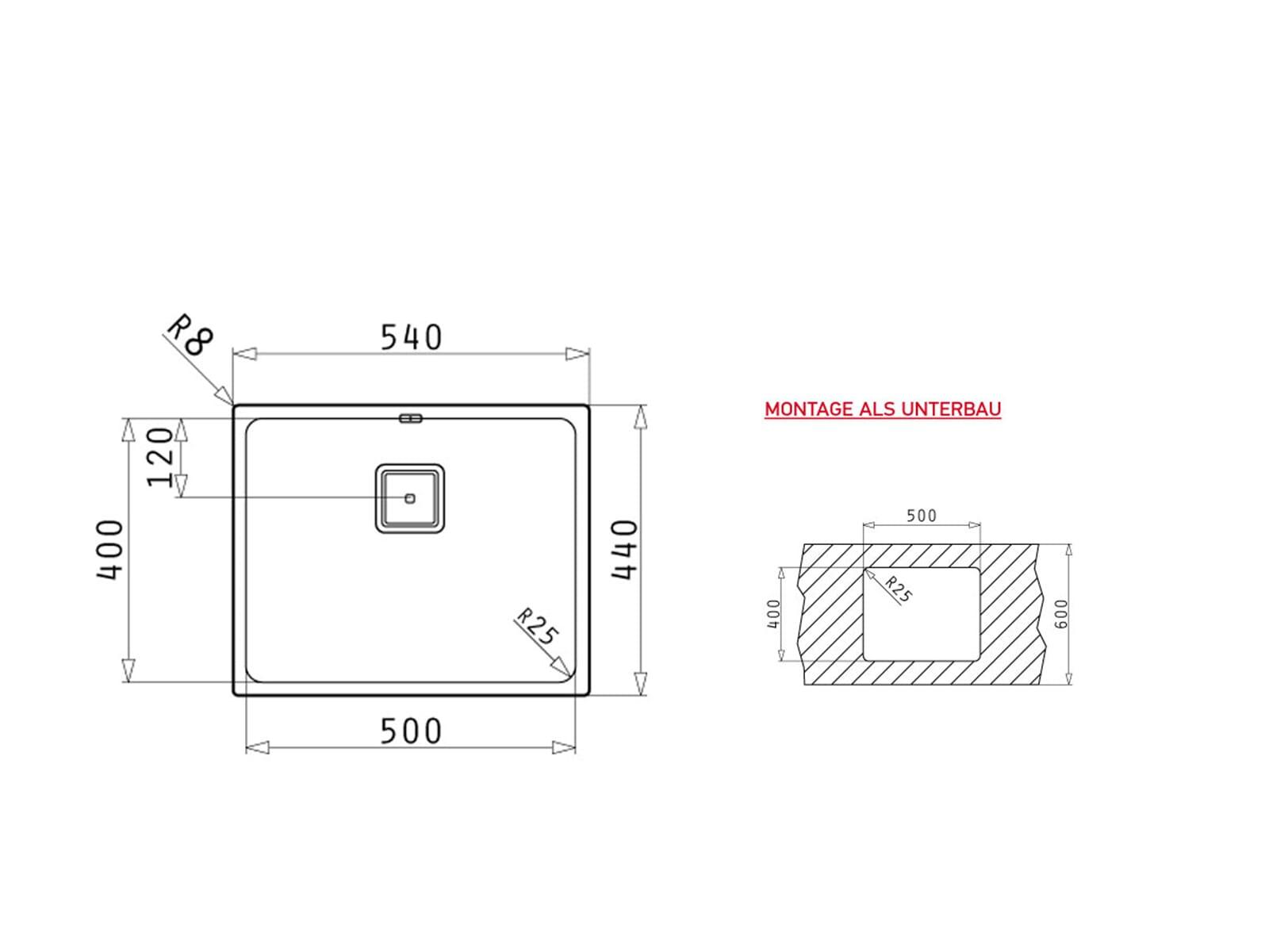 Pyramis Lume (50x40) UB Edelstahlspüle poliert