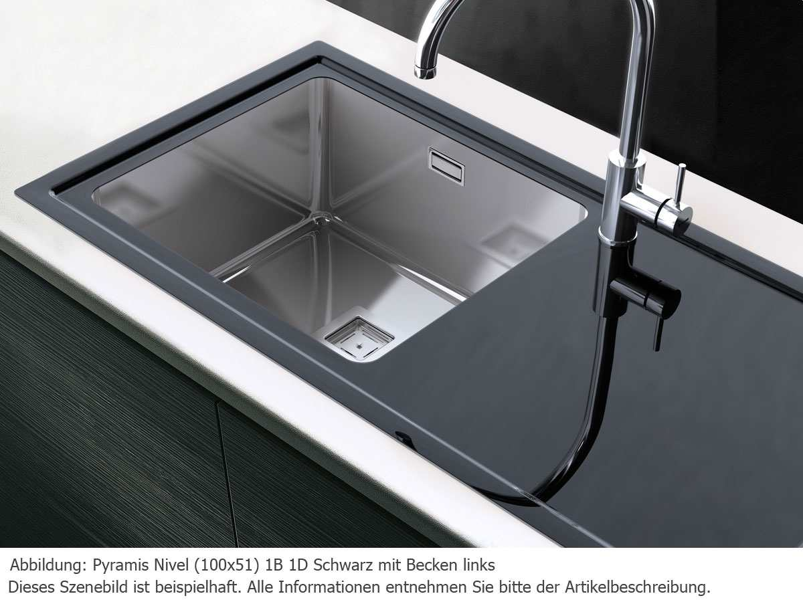 Pyramis Nivel (100x51) 1B 1D Weiß RH Edelstahl-Glas-Spüle