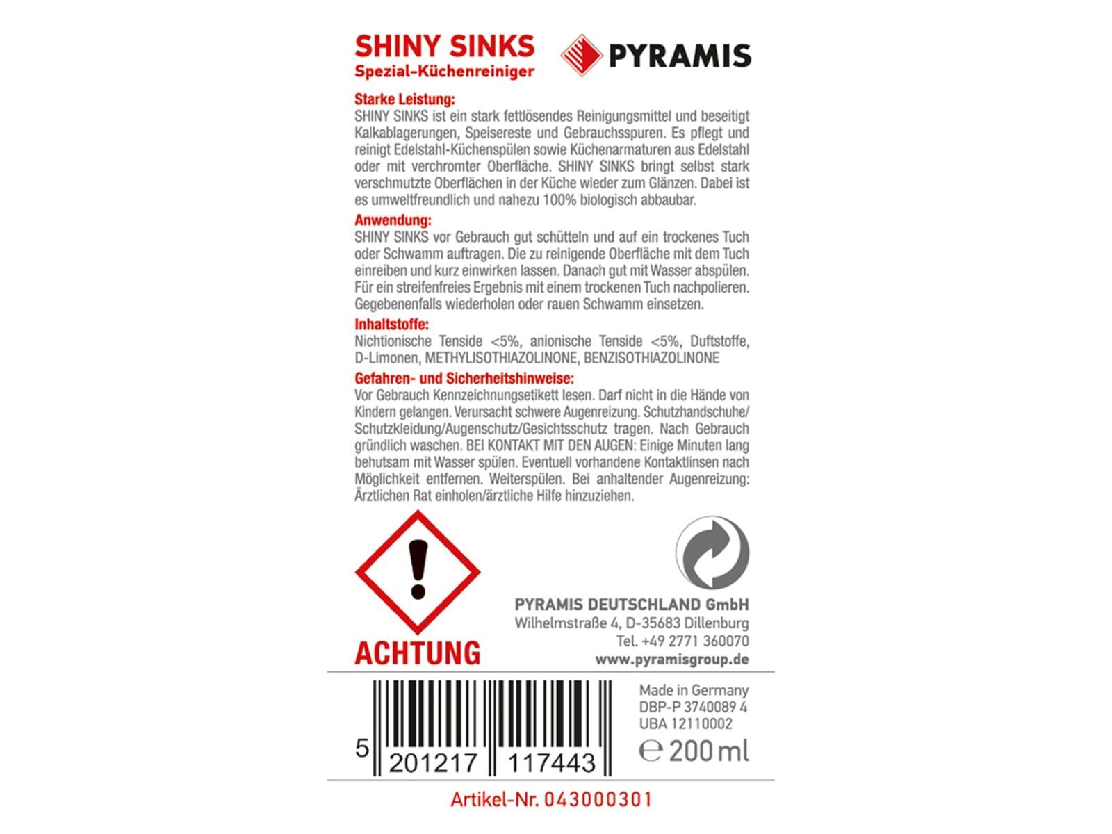 Pyramis 043000301 Shiny-Sinks
