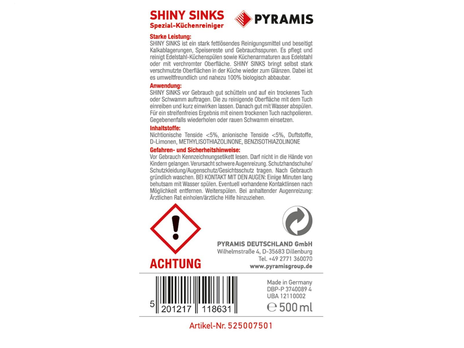 Pyramis 525007501 Shiny-Sinks Reinigungsmittel