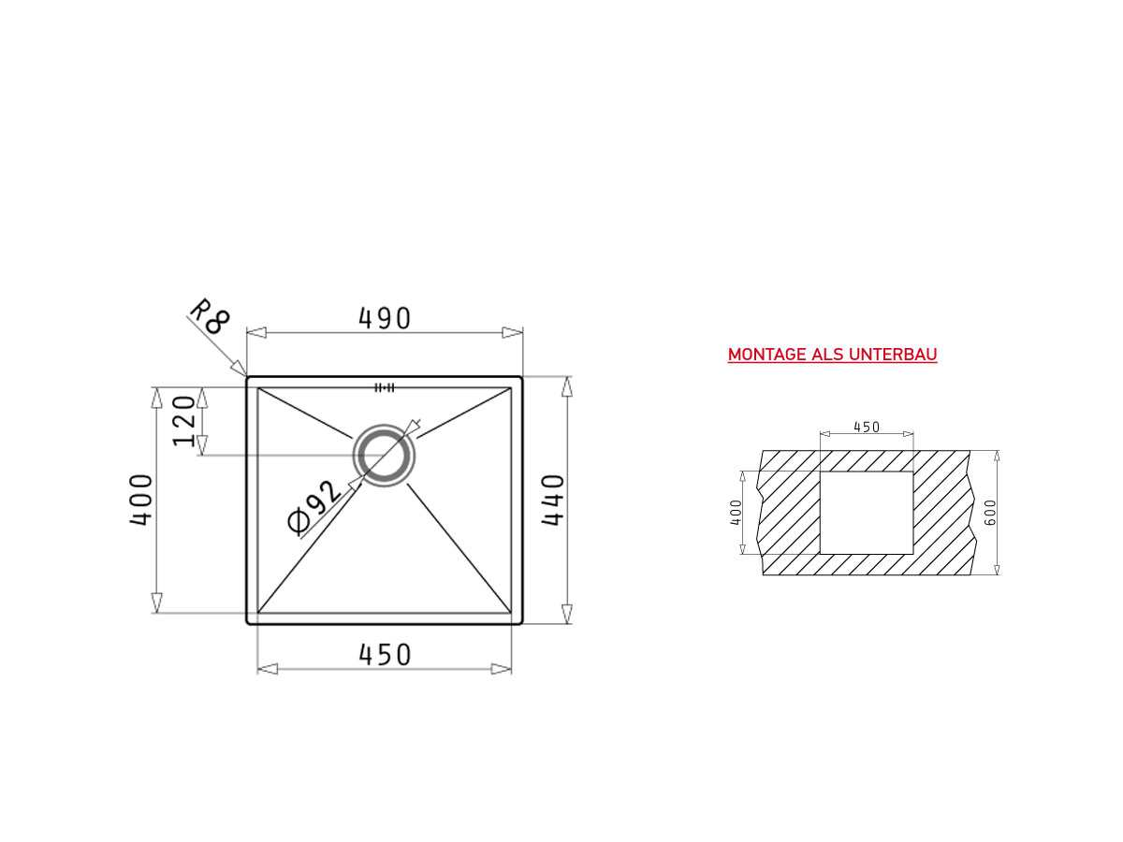 Pyramis Tetragon (45x40) UB Edelstahlspüle gebürstet