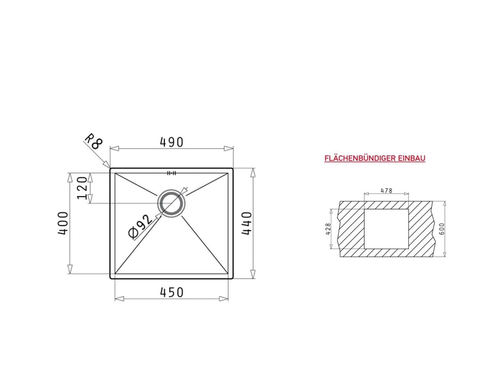 Pyramis Tetragon (45x40) 1B Edelstahlspüle gebürstet