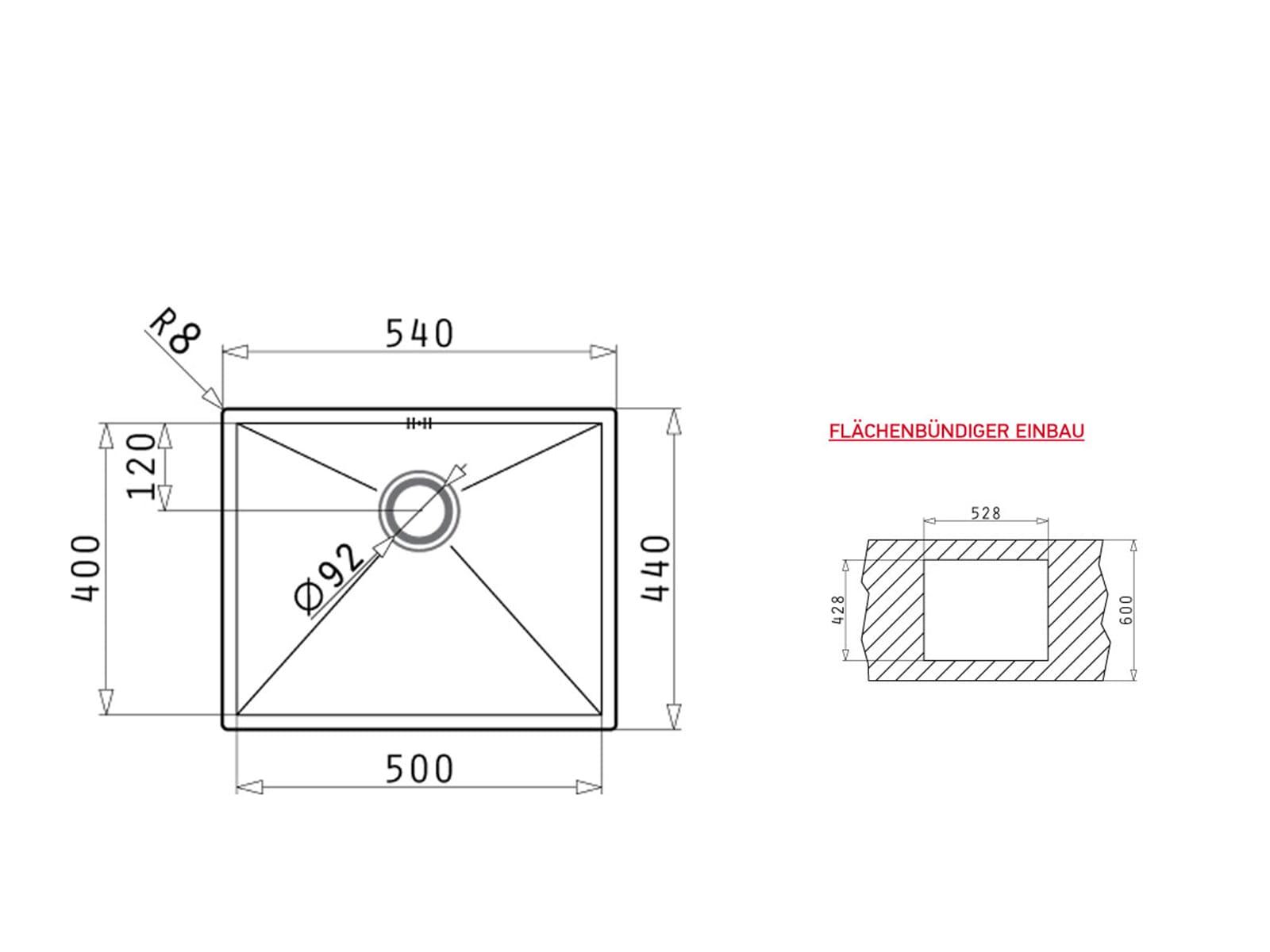 Pyramis Tetragon (50x40) 1B Edelstahlspüle gebürstet