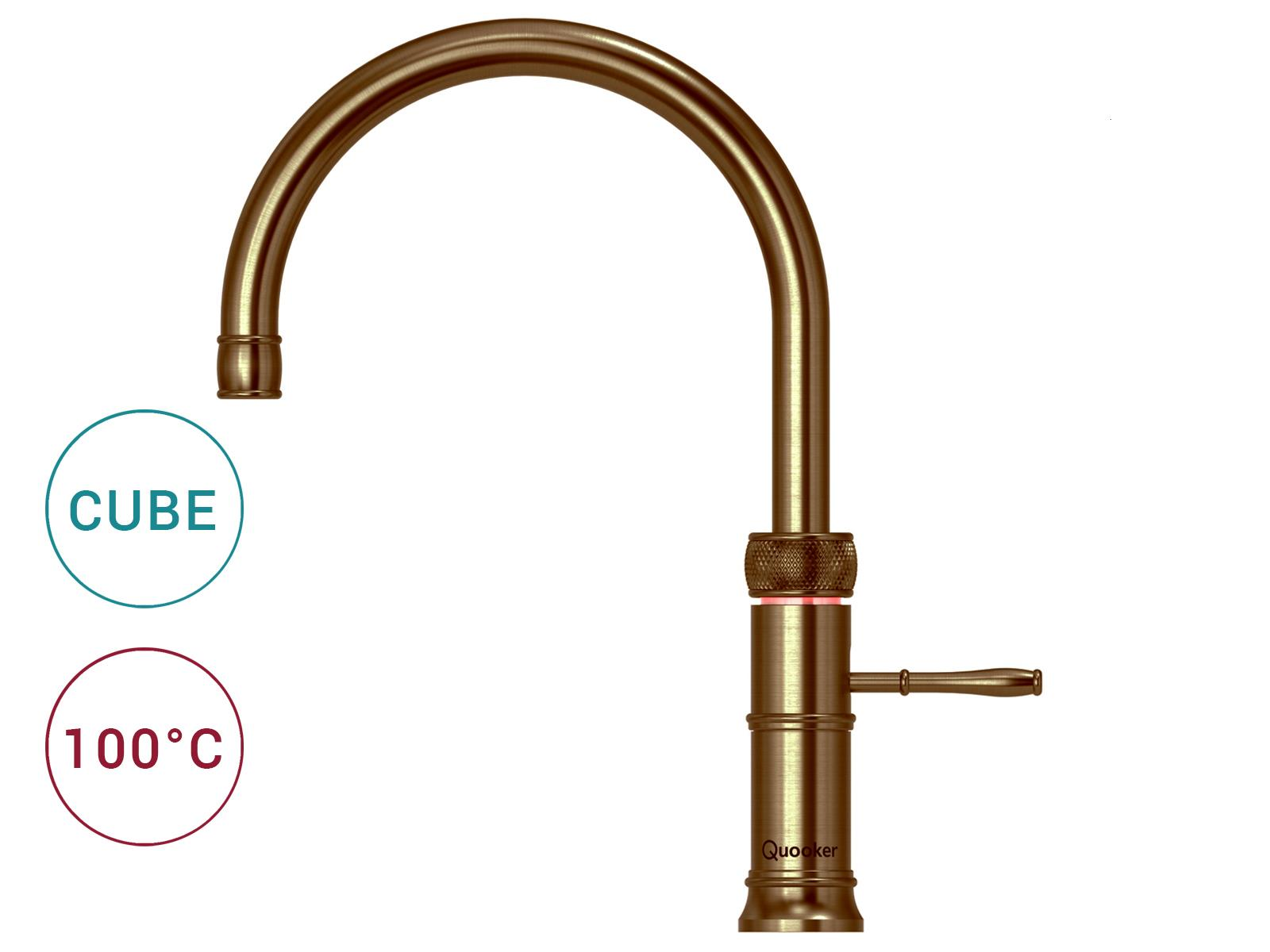 Quooker COMBI 2.2 E & CUBE | Classic Fusion Round PTN (Messing Patina)