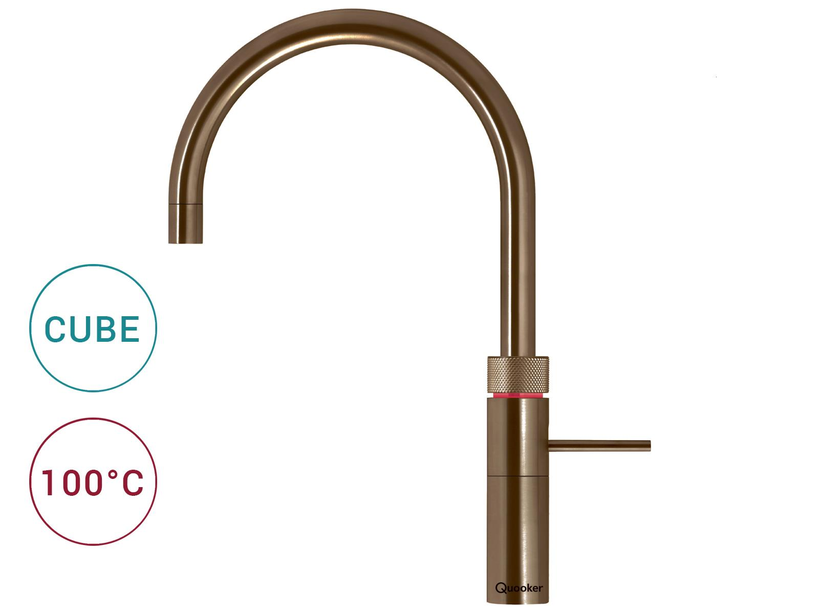 Quooker COMBI 2.2 E & CUBE | Fusion Round PTN (Messing Patina)