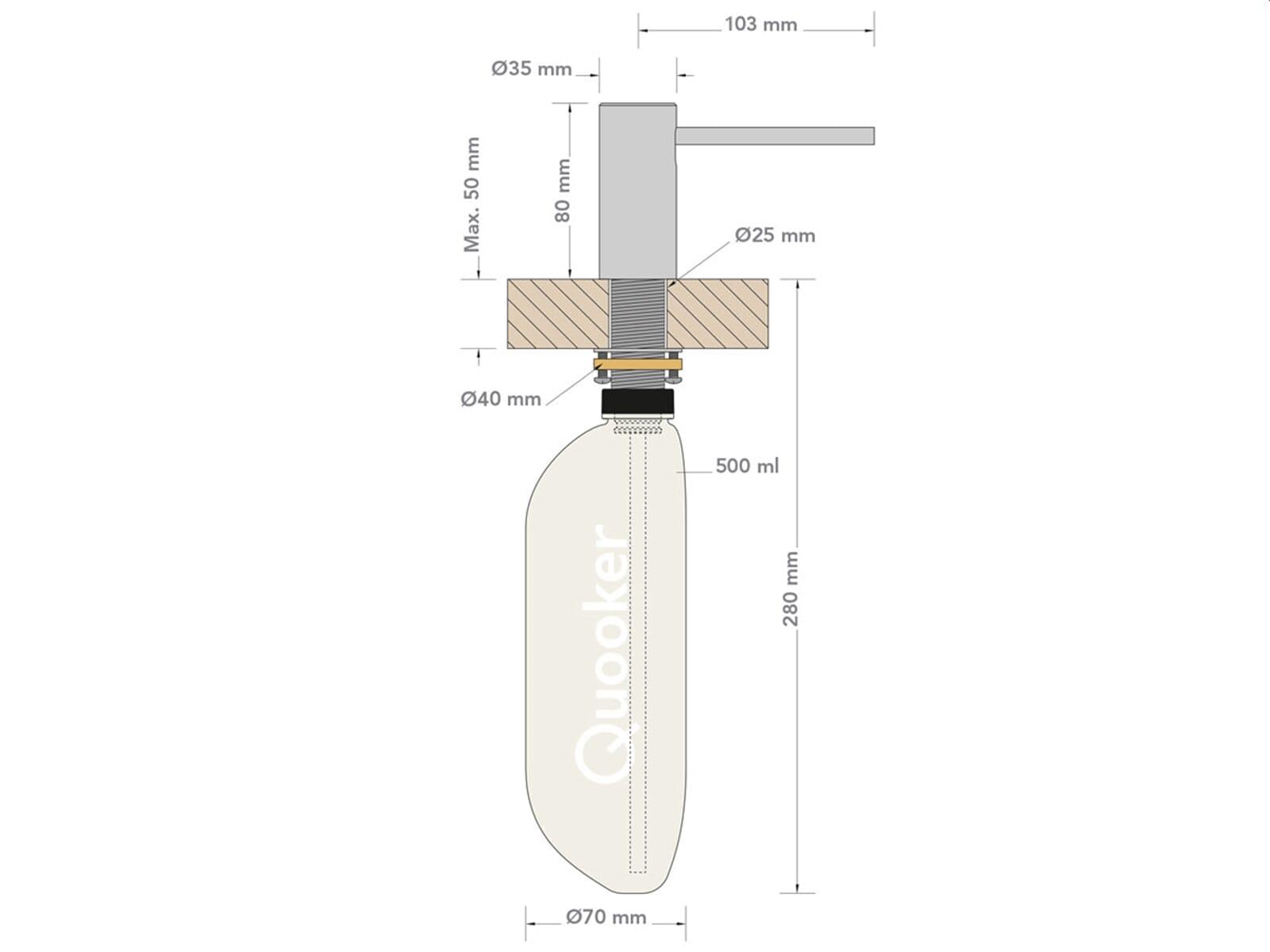 QUOOKER Nordic Seifenspender CHR (verchromt glänzend) / 75 mm